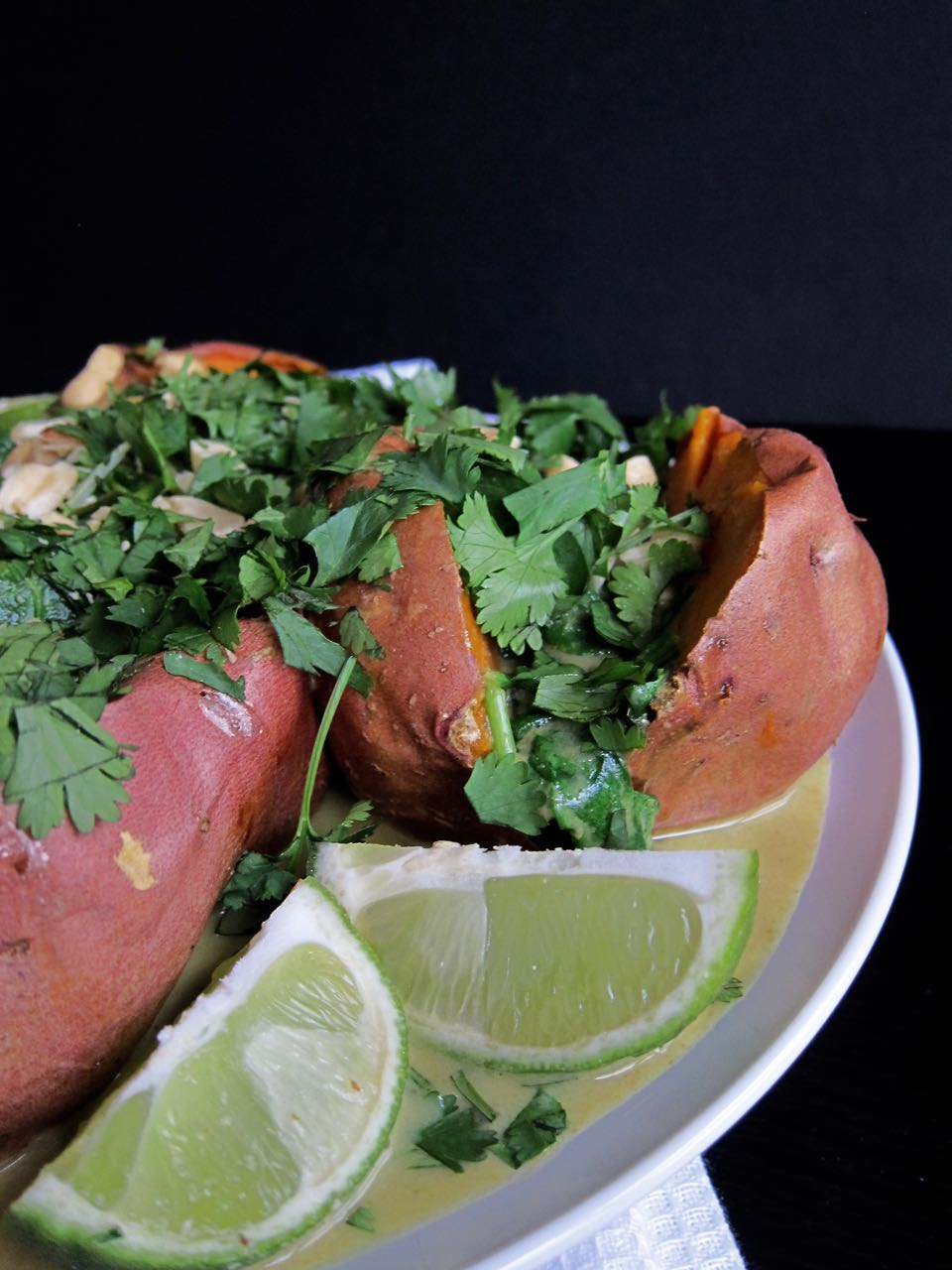 baked sweet potato with green curry