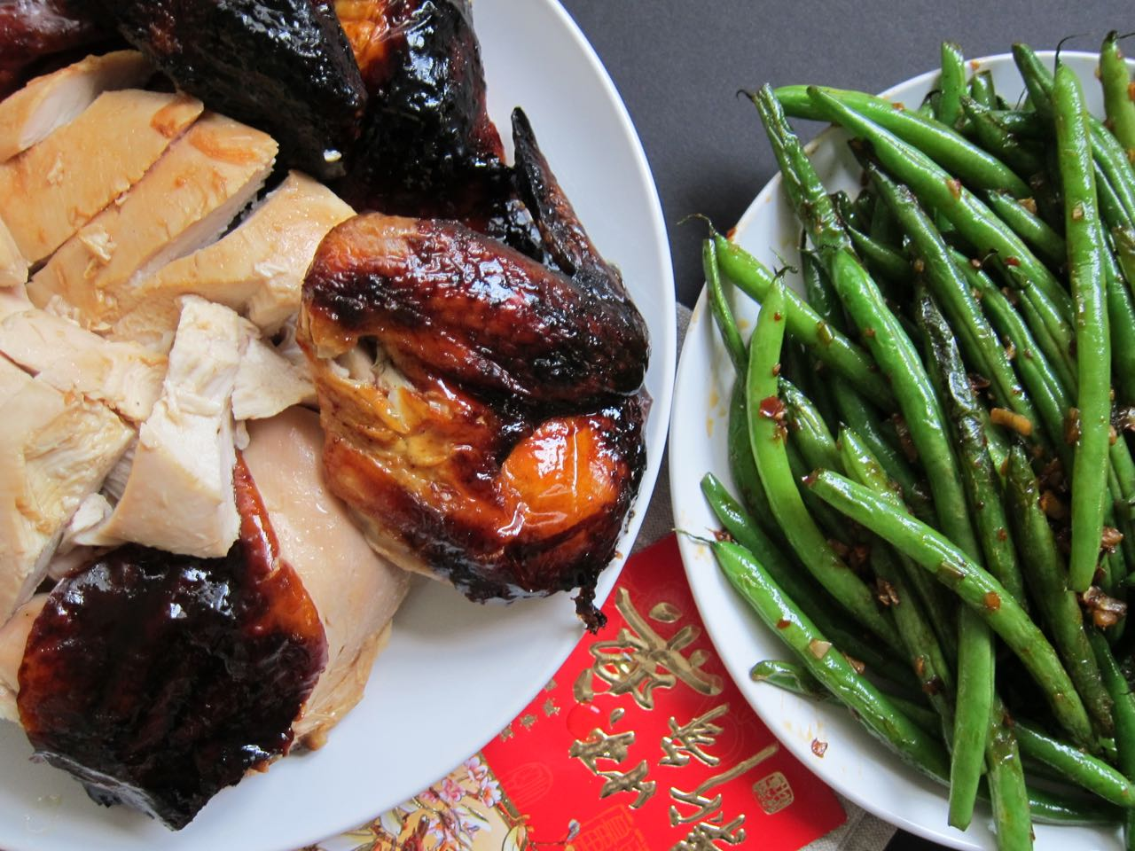 Lacquered Roast Chicken and Dry Fried Green Beans