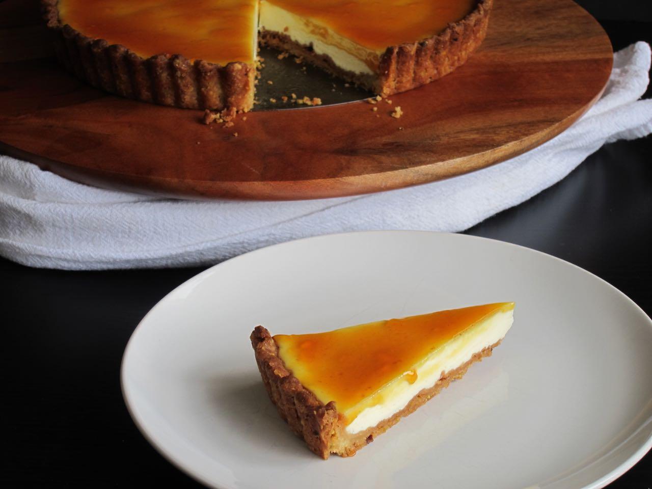 Sliced pistachio labneh kumquat tart