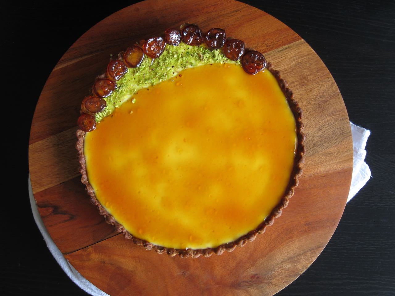 Pistachio Labneh tart with kumquat caramel