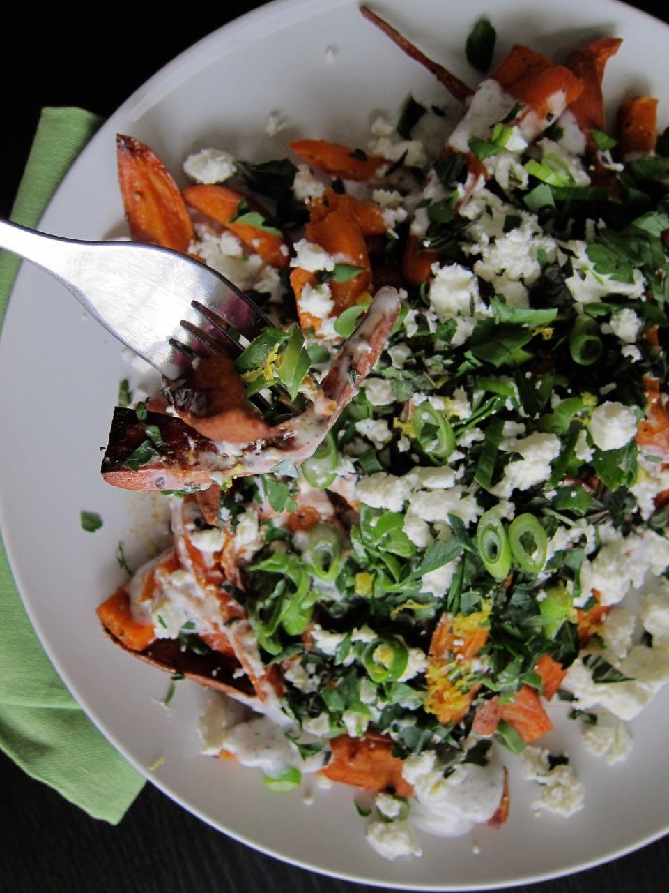 Sumac Yogurt and Herbs Roasted Sweet potatoes
