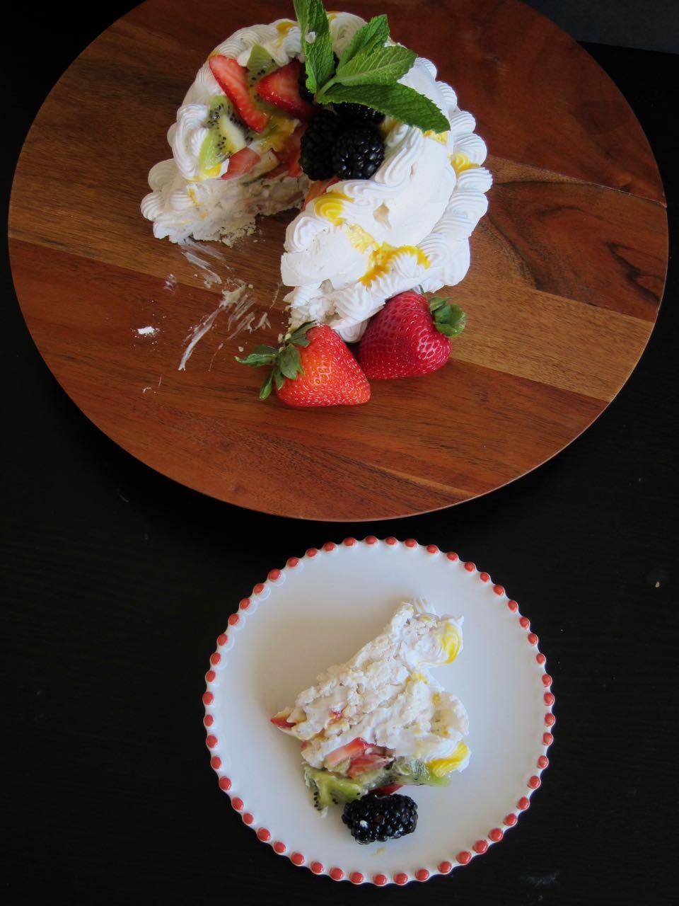 Sliced Vegan Pavlova Cake