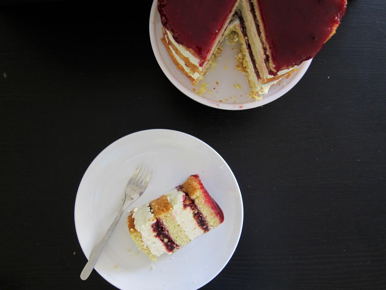 sliced corn blackberry cake