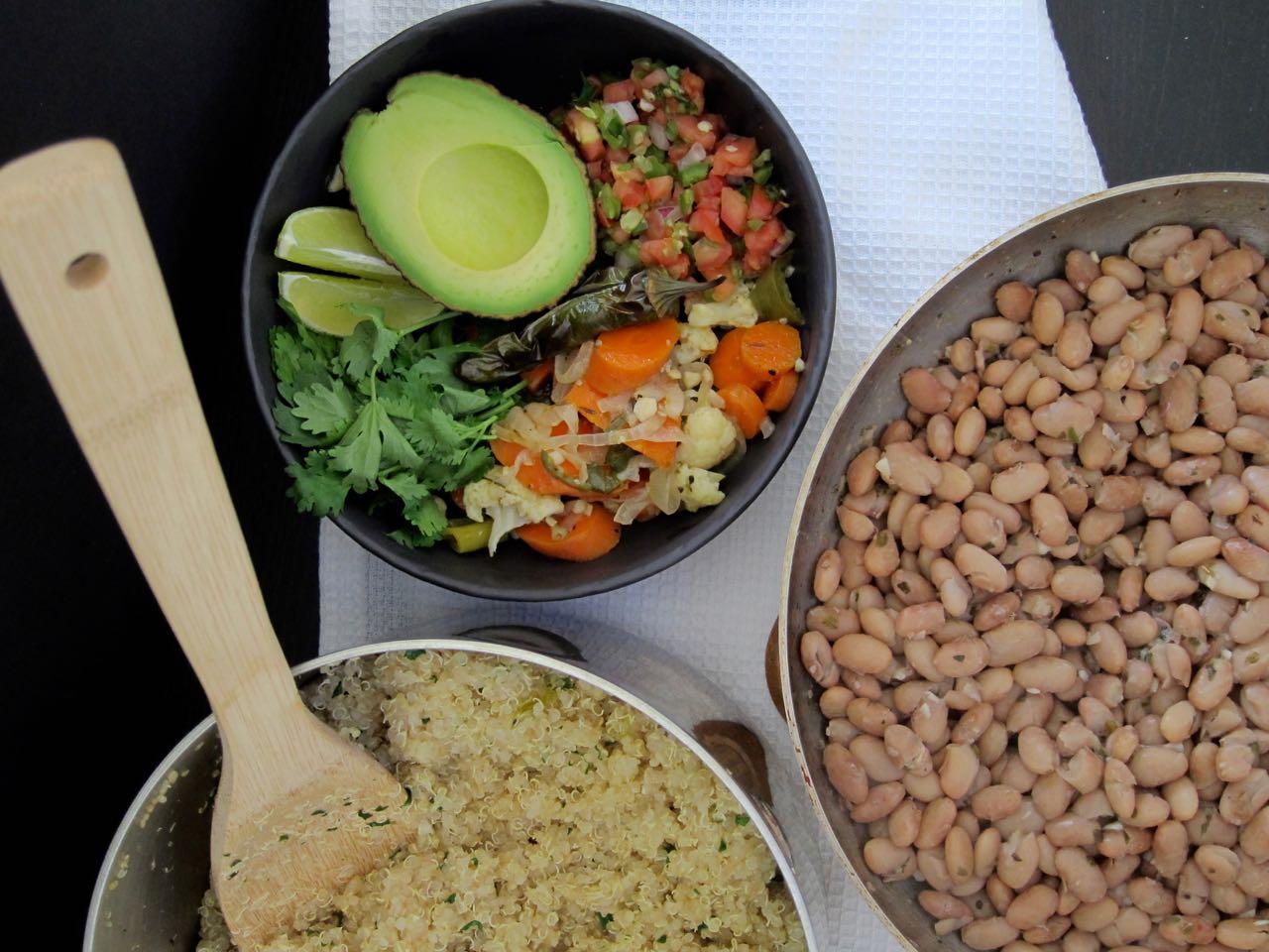 Pintos, Quinoa & Garnishes