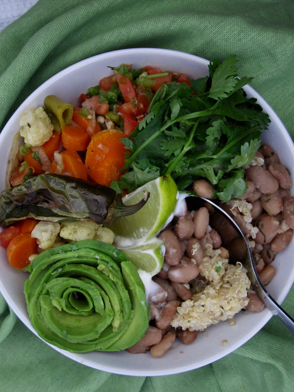 Pinto Quinoa Bowl with all the garnishes
