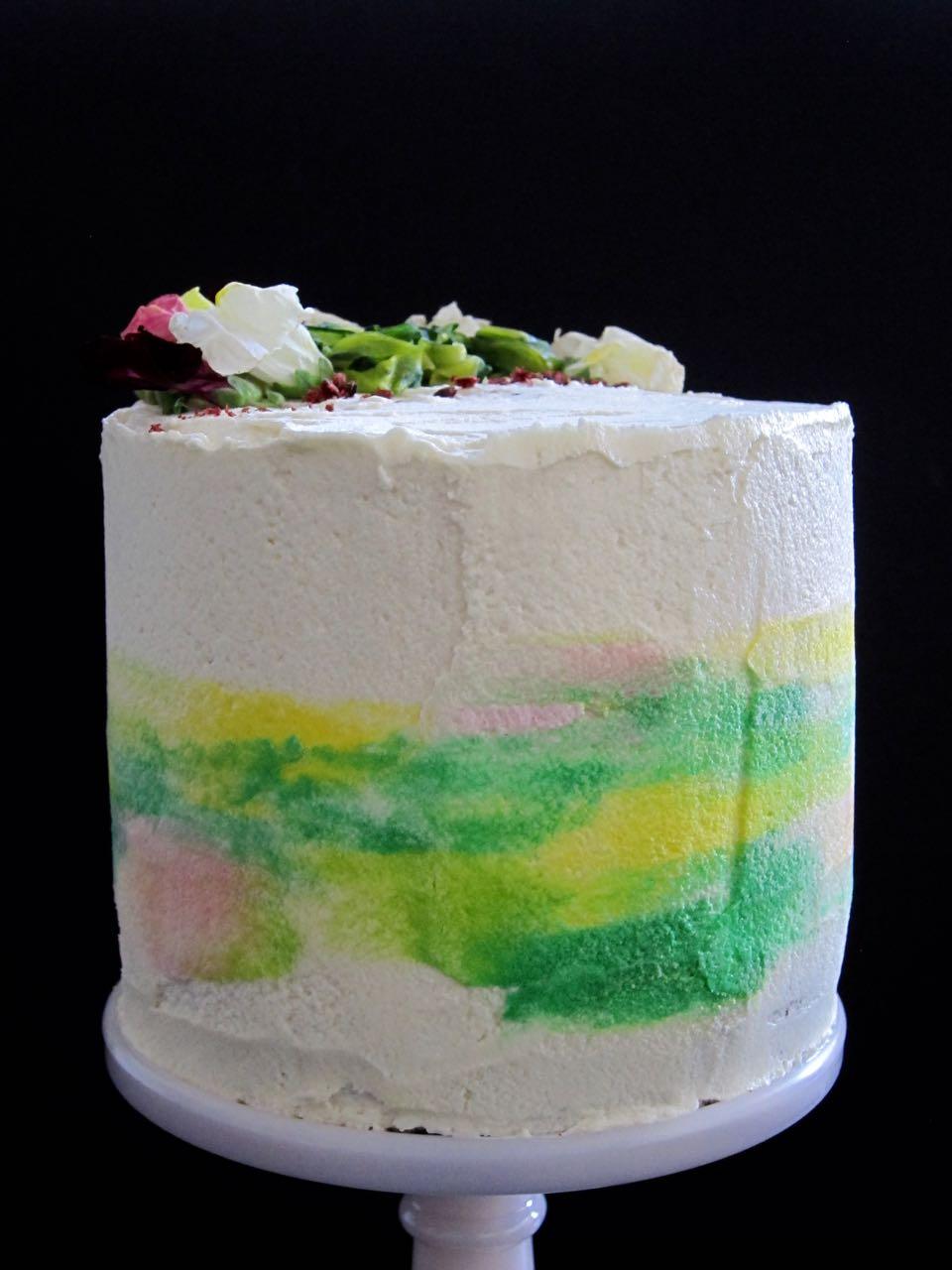 watercolored chocolate zucchini cake