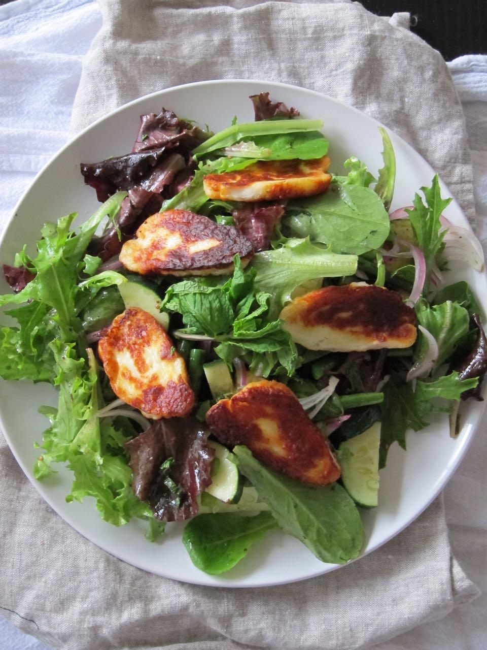 Fried Haloumi Salad with Zaatar Dressing