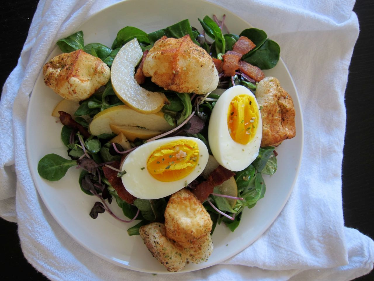Asian Pear & Bacon Salad with Furikake Mochi Croutons