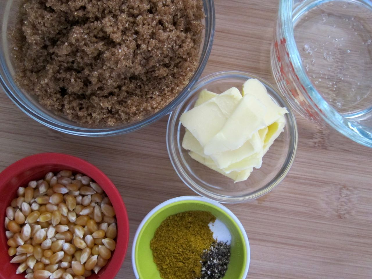 Curry Coconut Caramel Corn ingredients