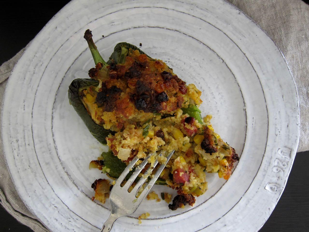 Chorizo cornbread stuffed poblano