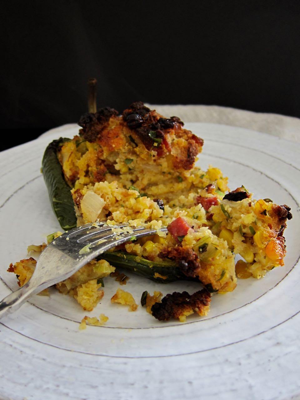 baked cornbread stuffed poblano