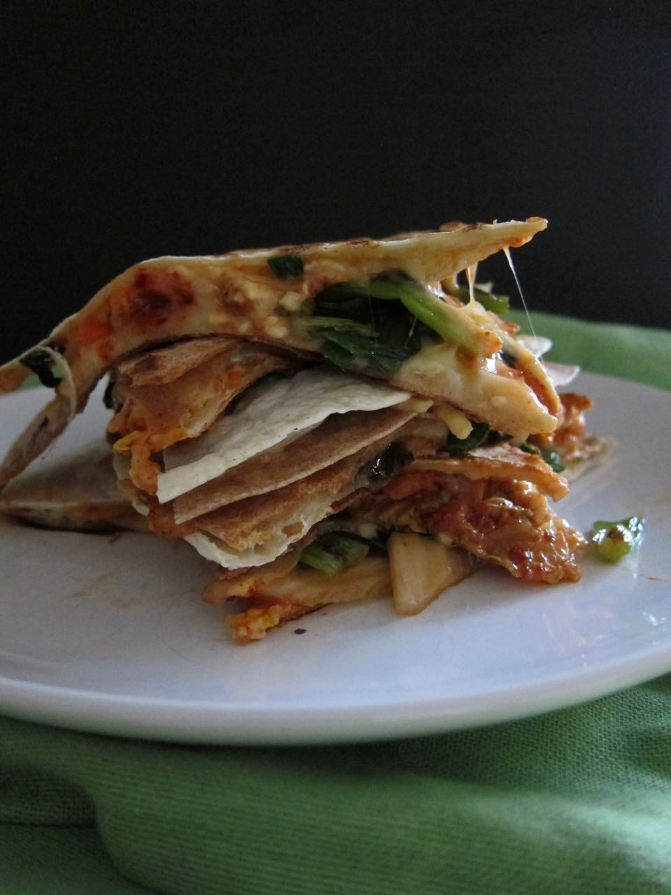 stacked kimchi quesadillas
