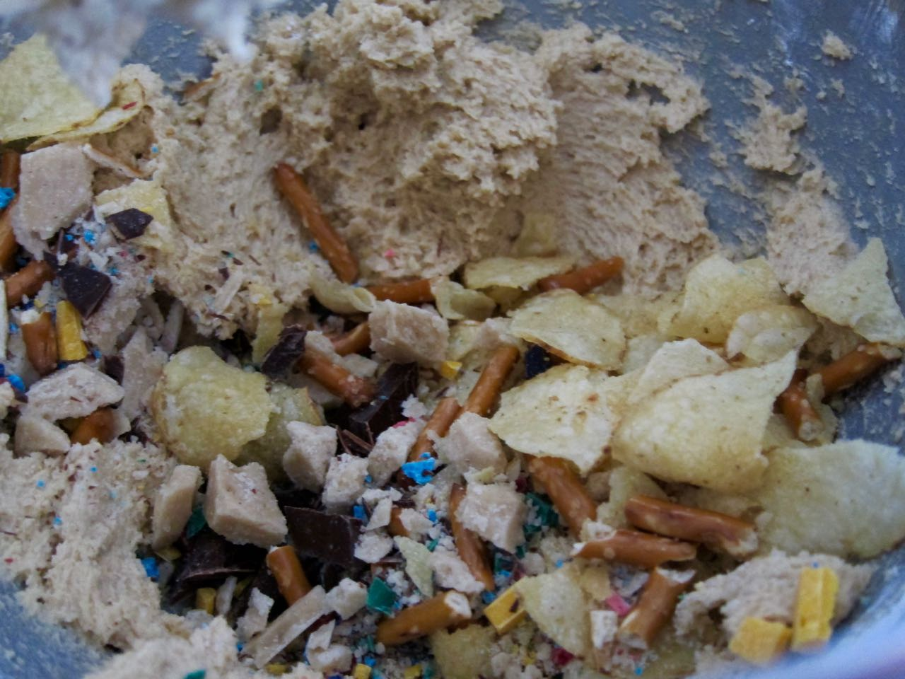 Adding mix-ins to Garbage Cookies.jpg