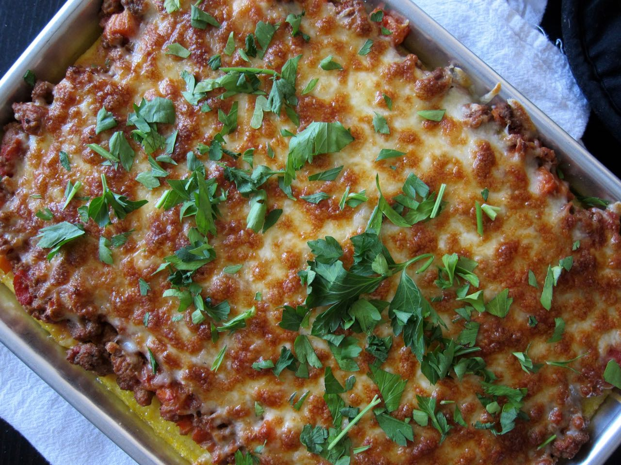 baked bolognese polenta pizza
