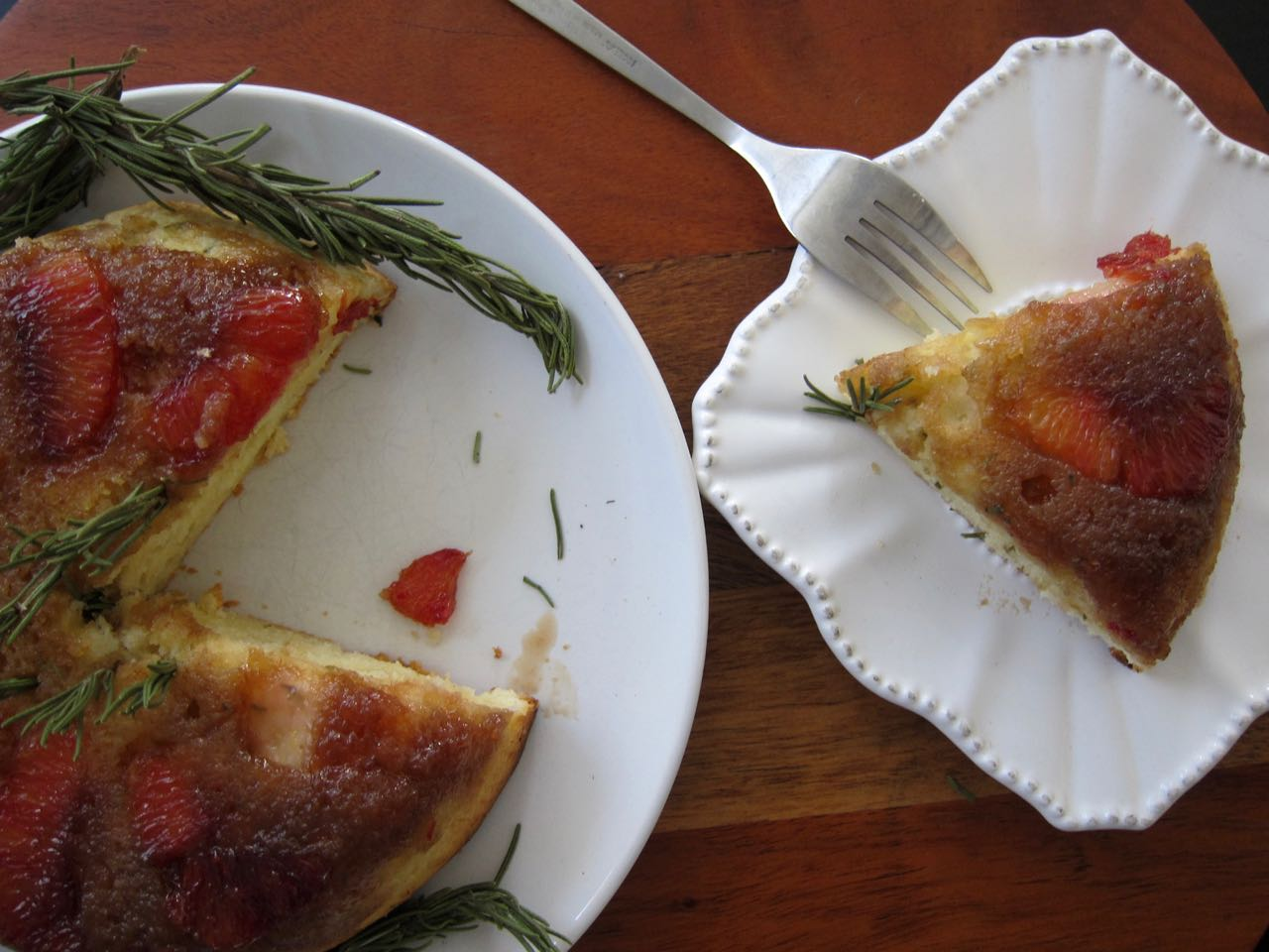 sliced blood orange rosemary upside down cake
