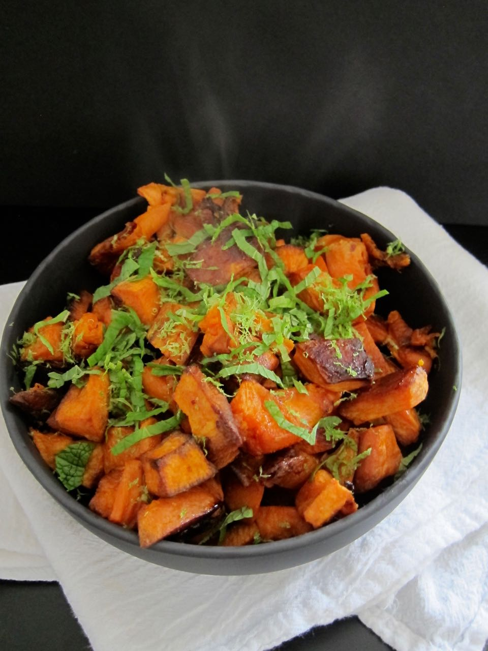 coconut roasted sweet potatoes with lime and mint