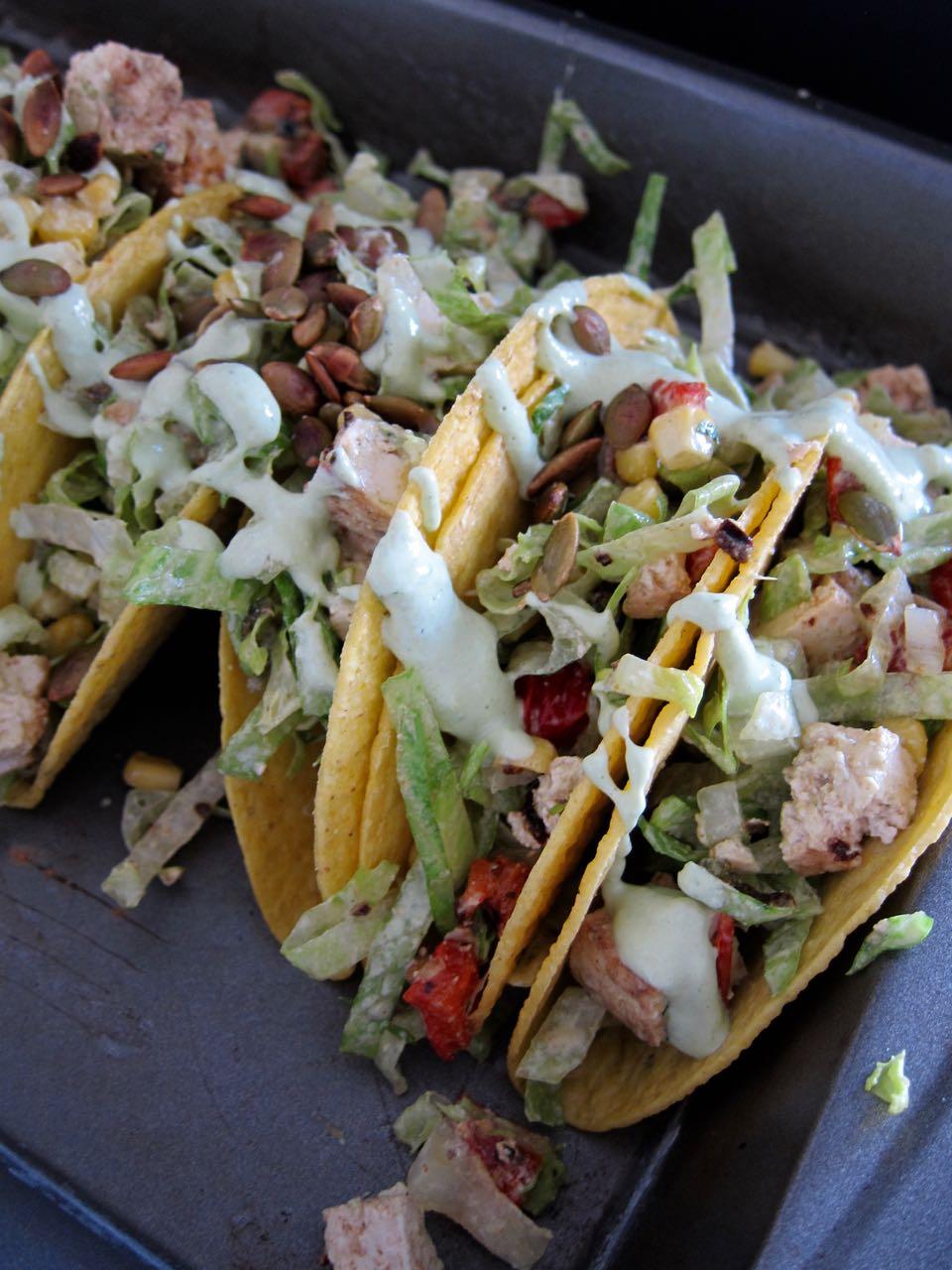 salad tacos with jalapeno cashew dressing