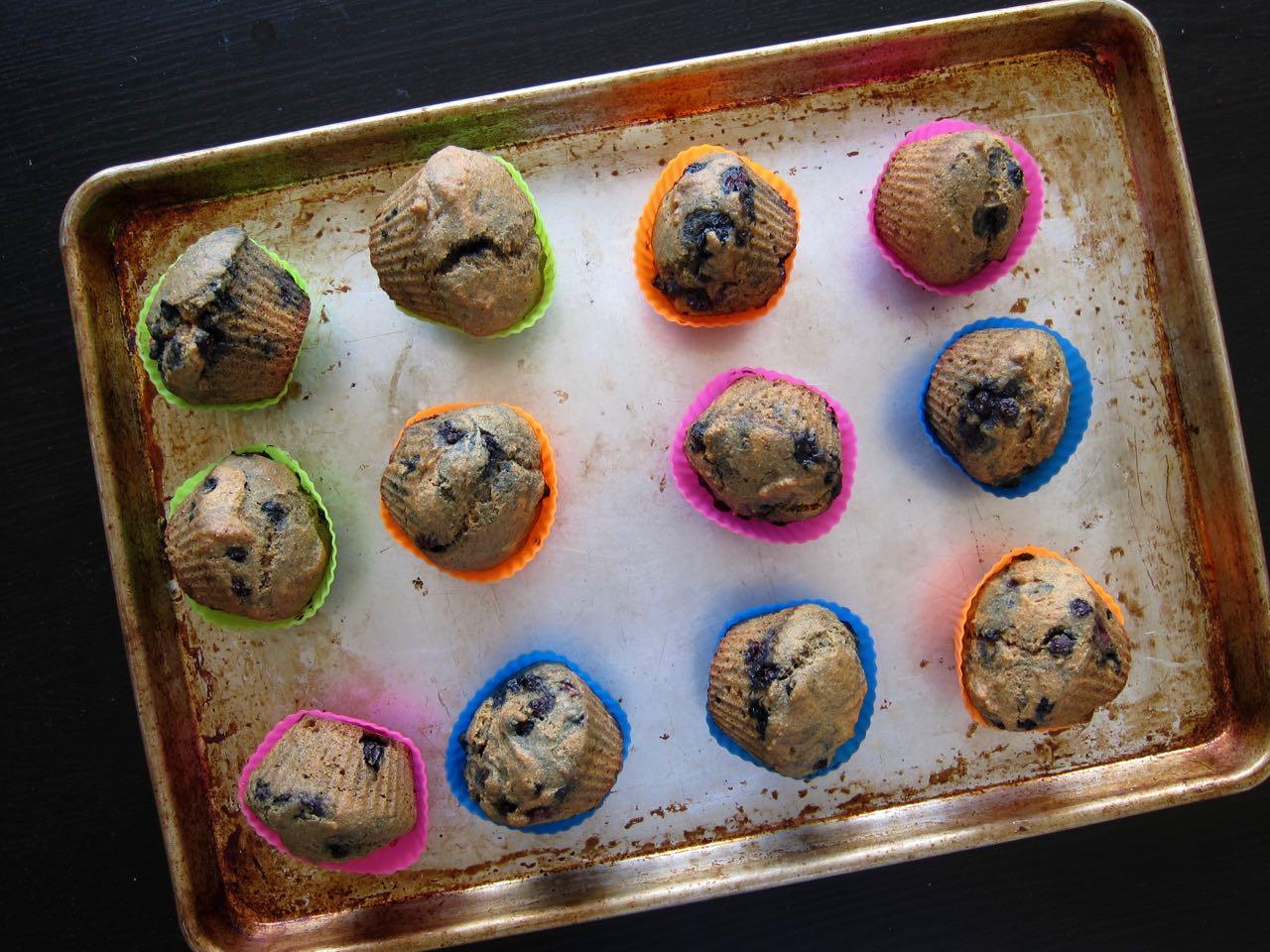 baked blueberry spelt ginger muffins