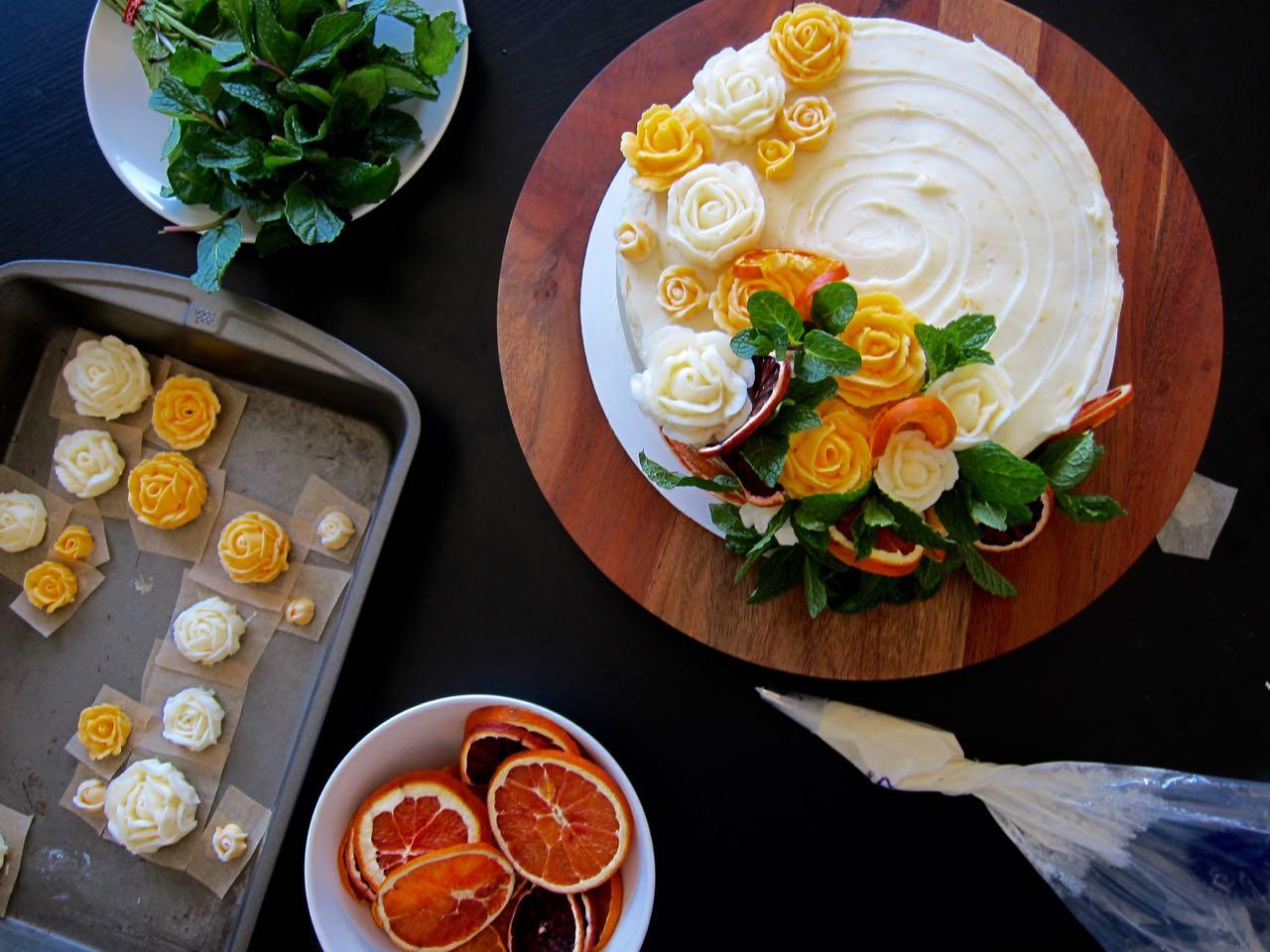 decorating mimosa cake