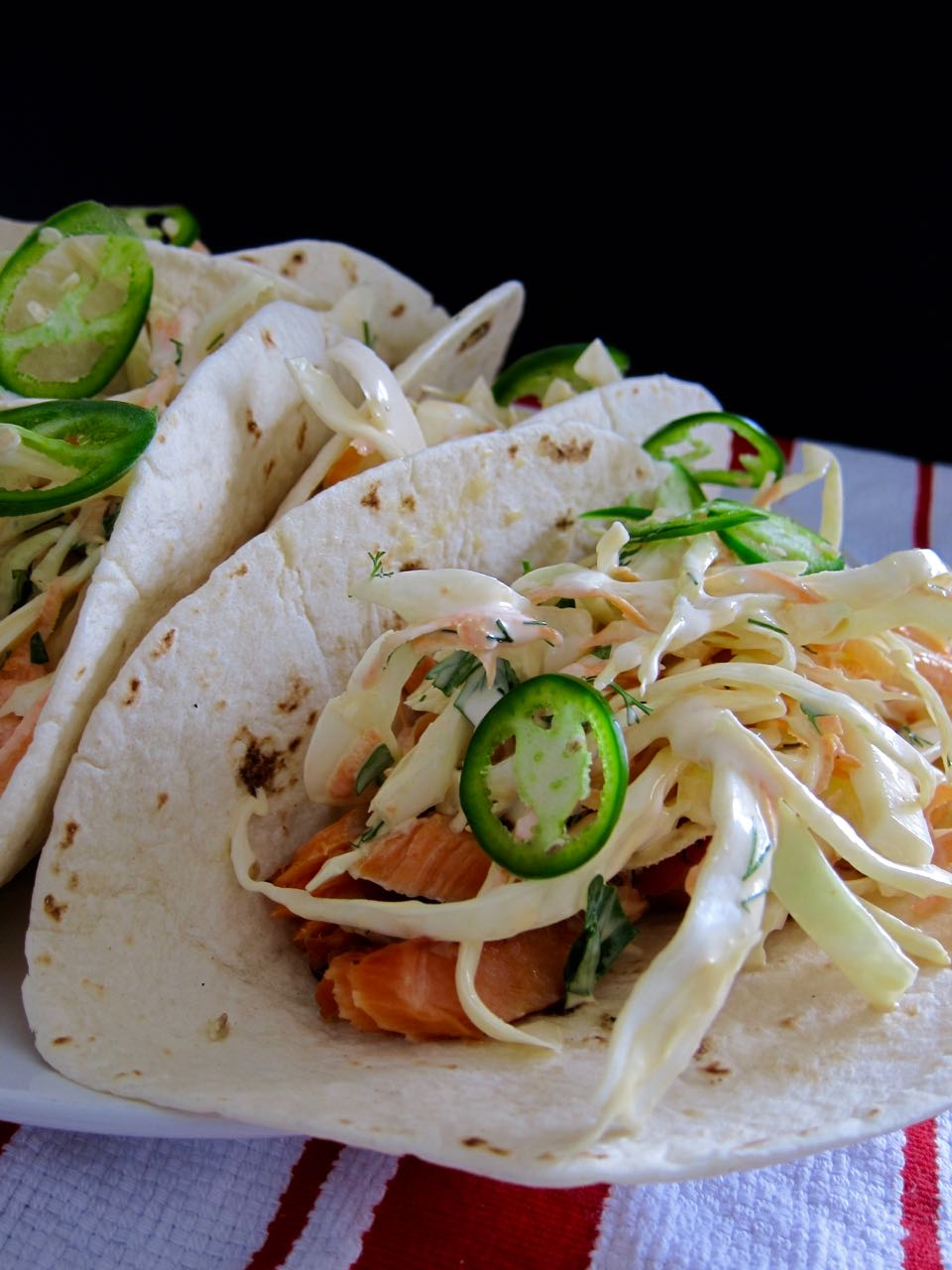 corned salmon tacos with slaw