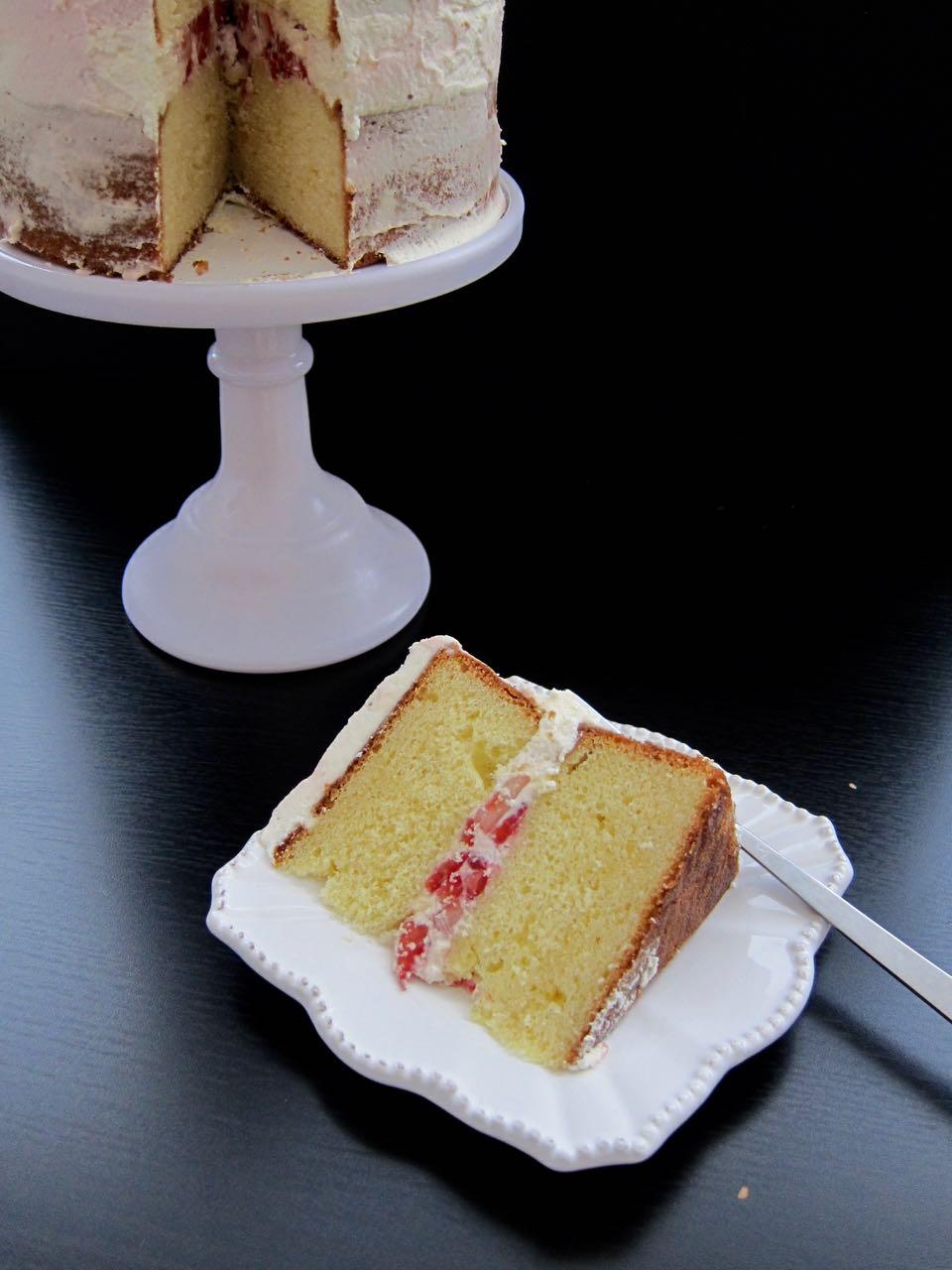 sliced strawberries & cream cake