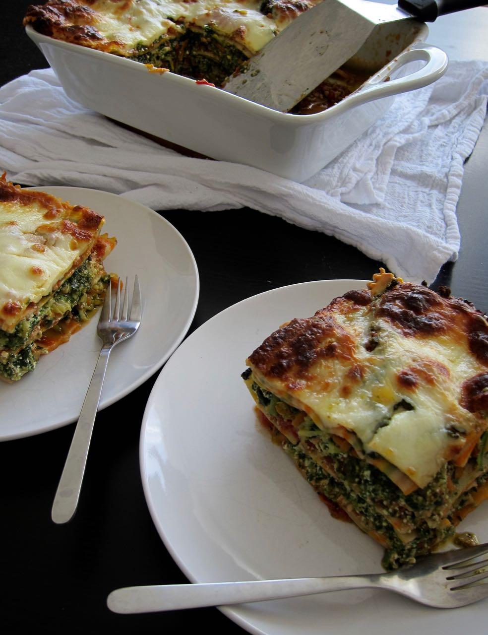 veggie & chicken lasagna with Pumpkin seed pesto