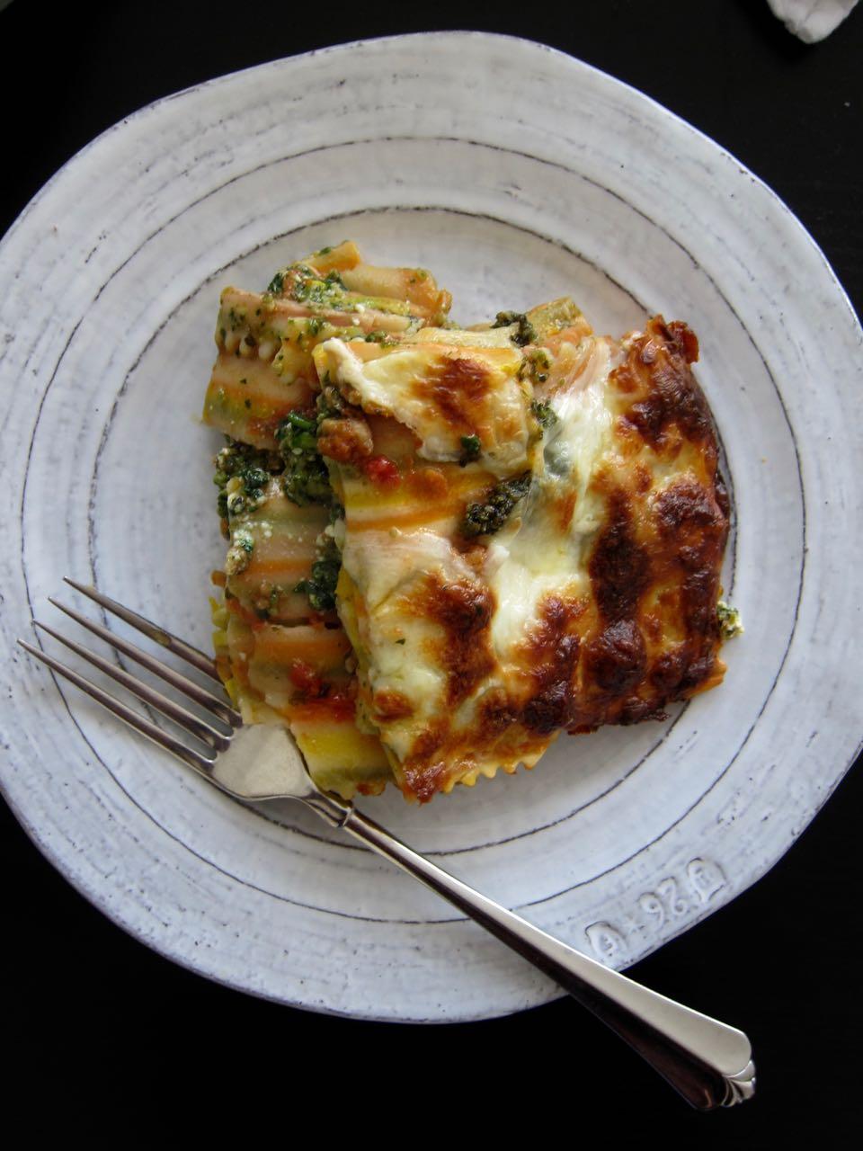 slice of veggie & chicken lasagna