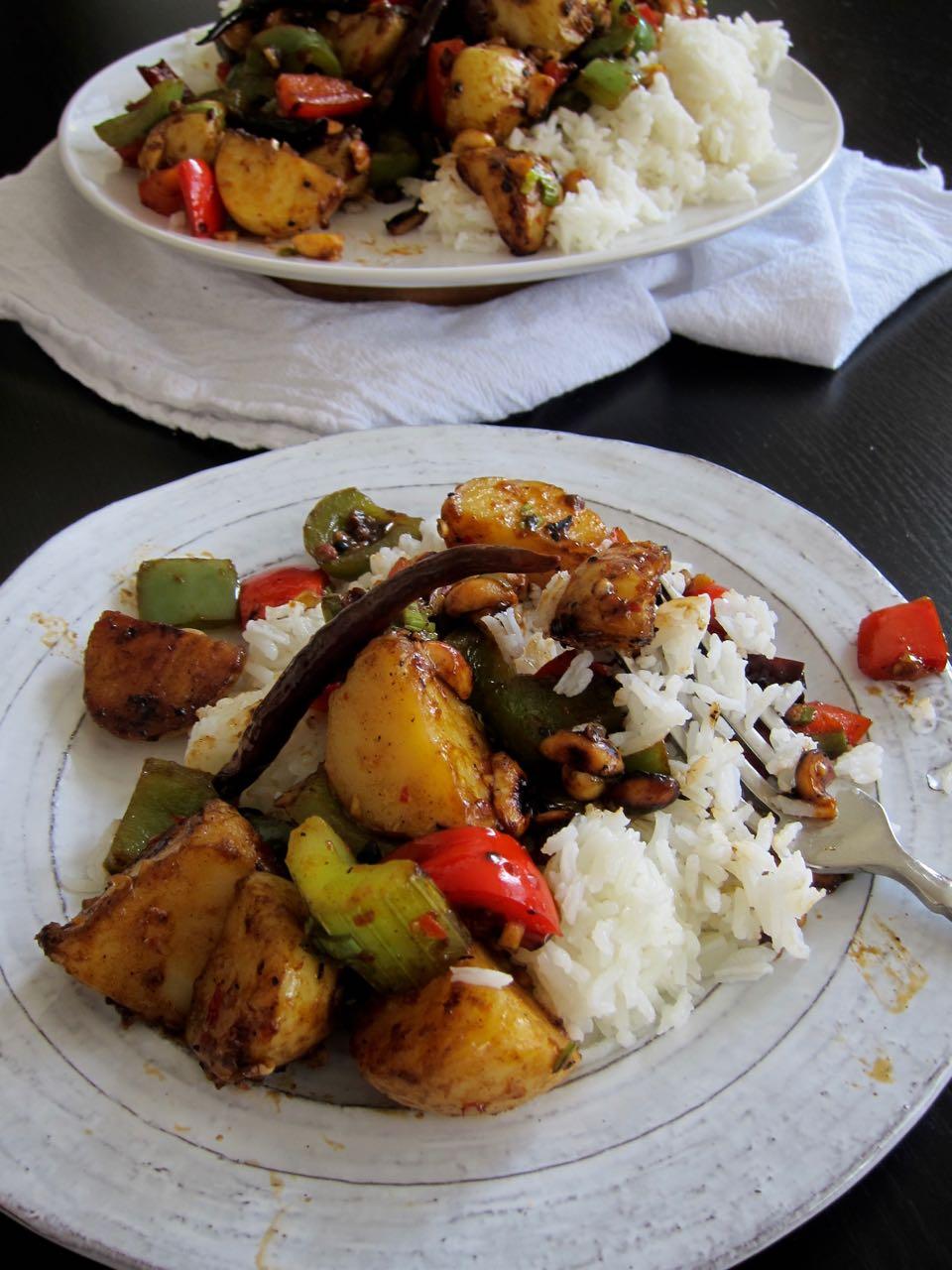 kung pao potatoes serving