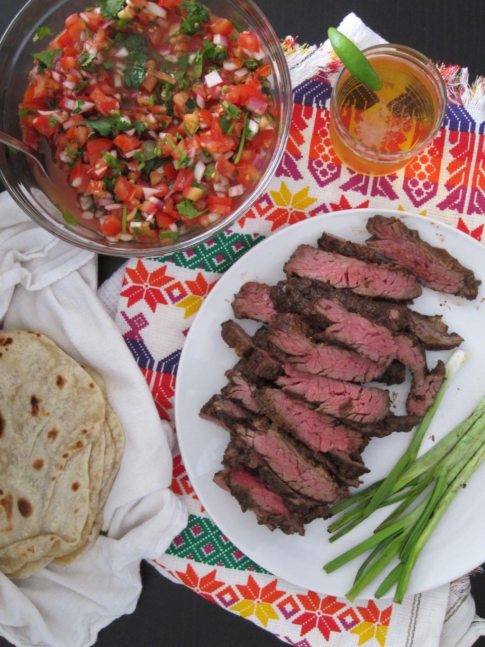 carne asada with pico de gallo and tortillas