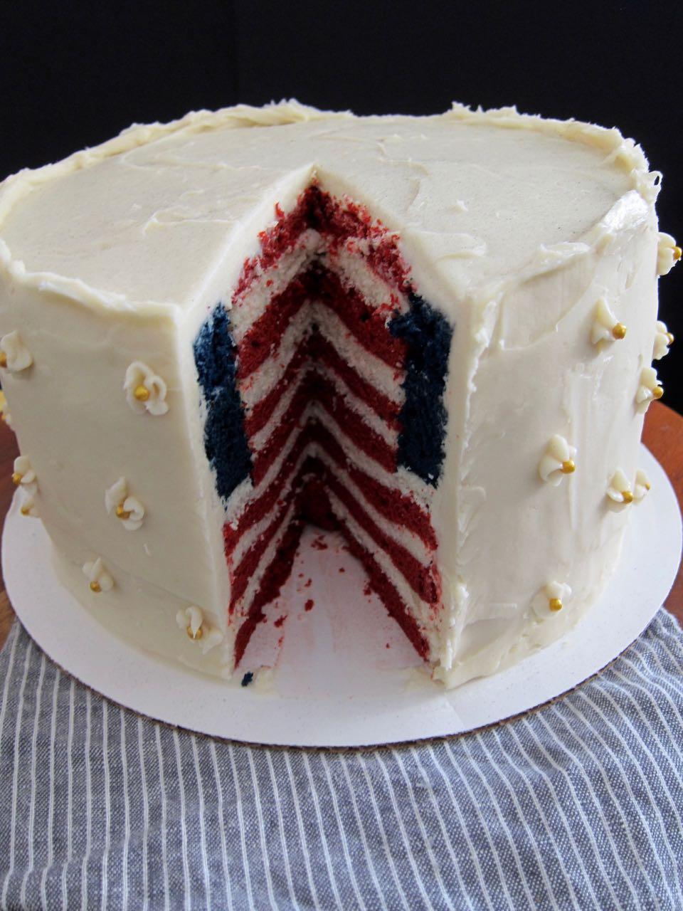 American flag inside cake