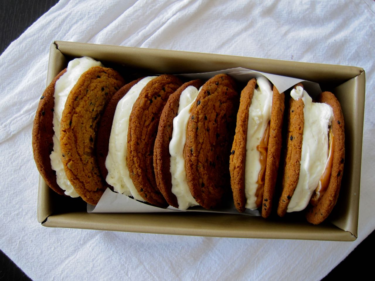 Black Sesame Cookie & Vanilla Ice Cream Sandwiches with Miso Caramel