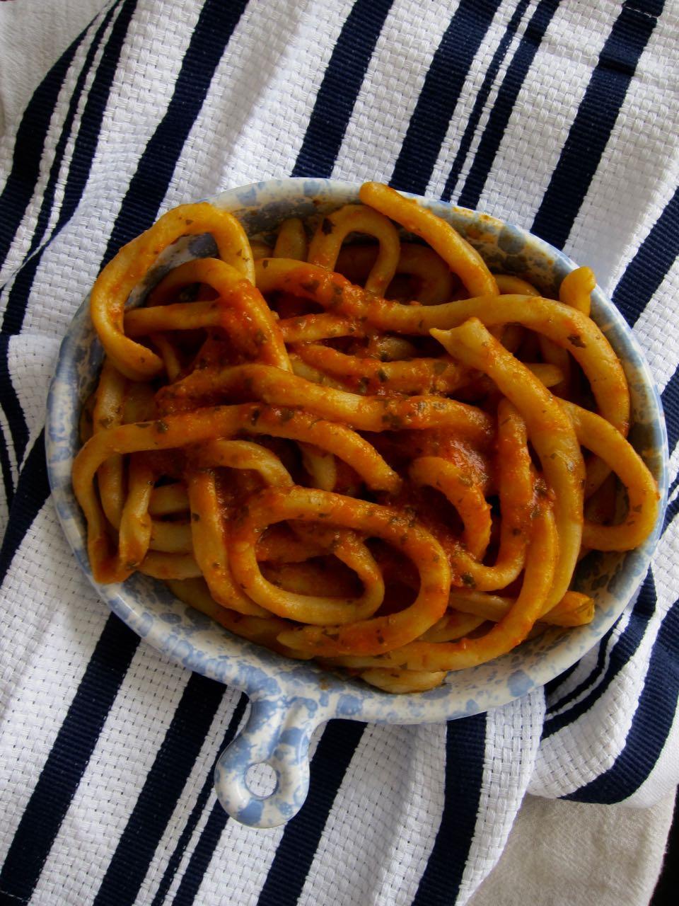 Pici pasta & spicy tomato sauce
