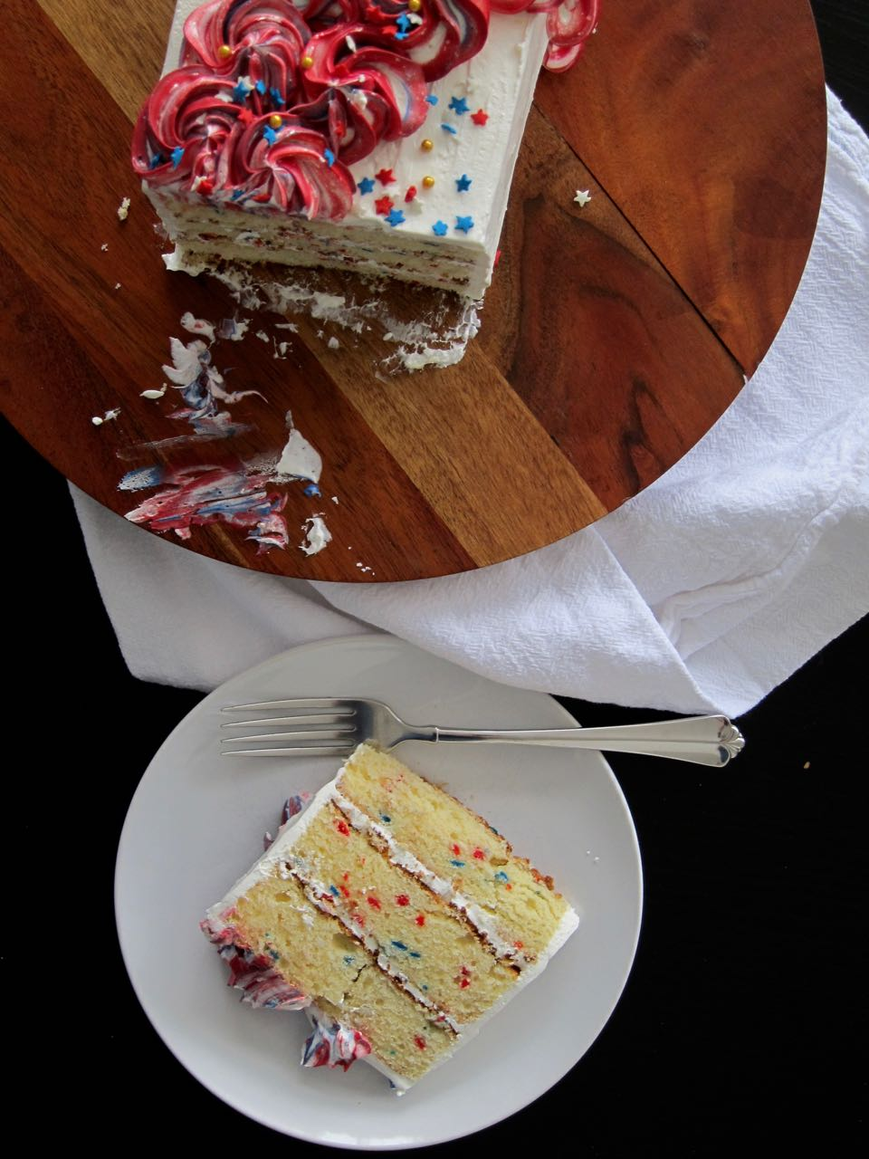 Sliced red white blue funfetti cake