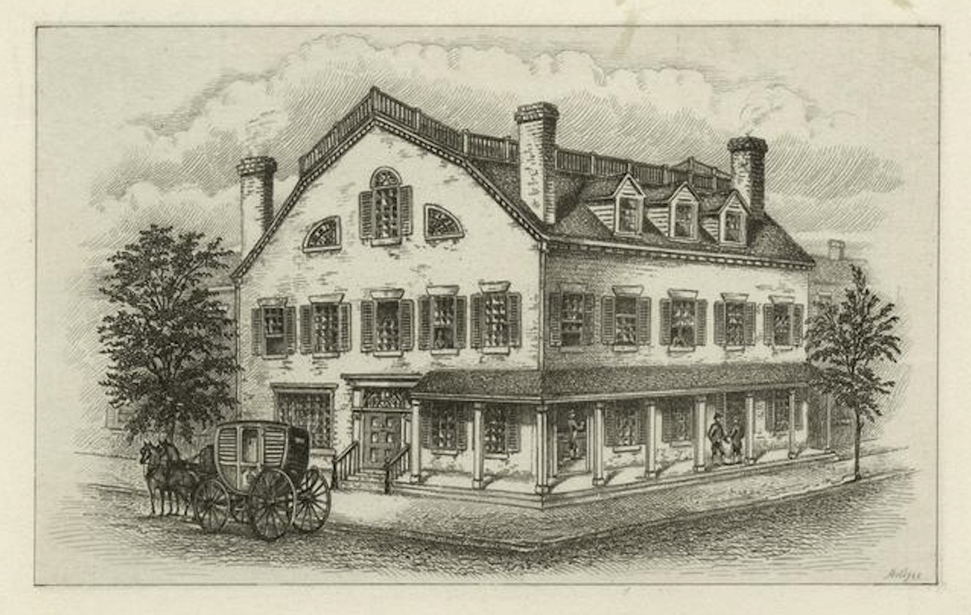 Fraunces Tavern in 1777,  as imagined in the late 19thc. Image: New York Public Library.