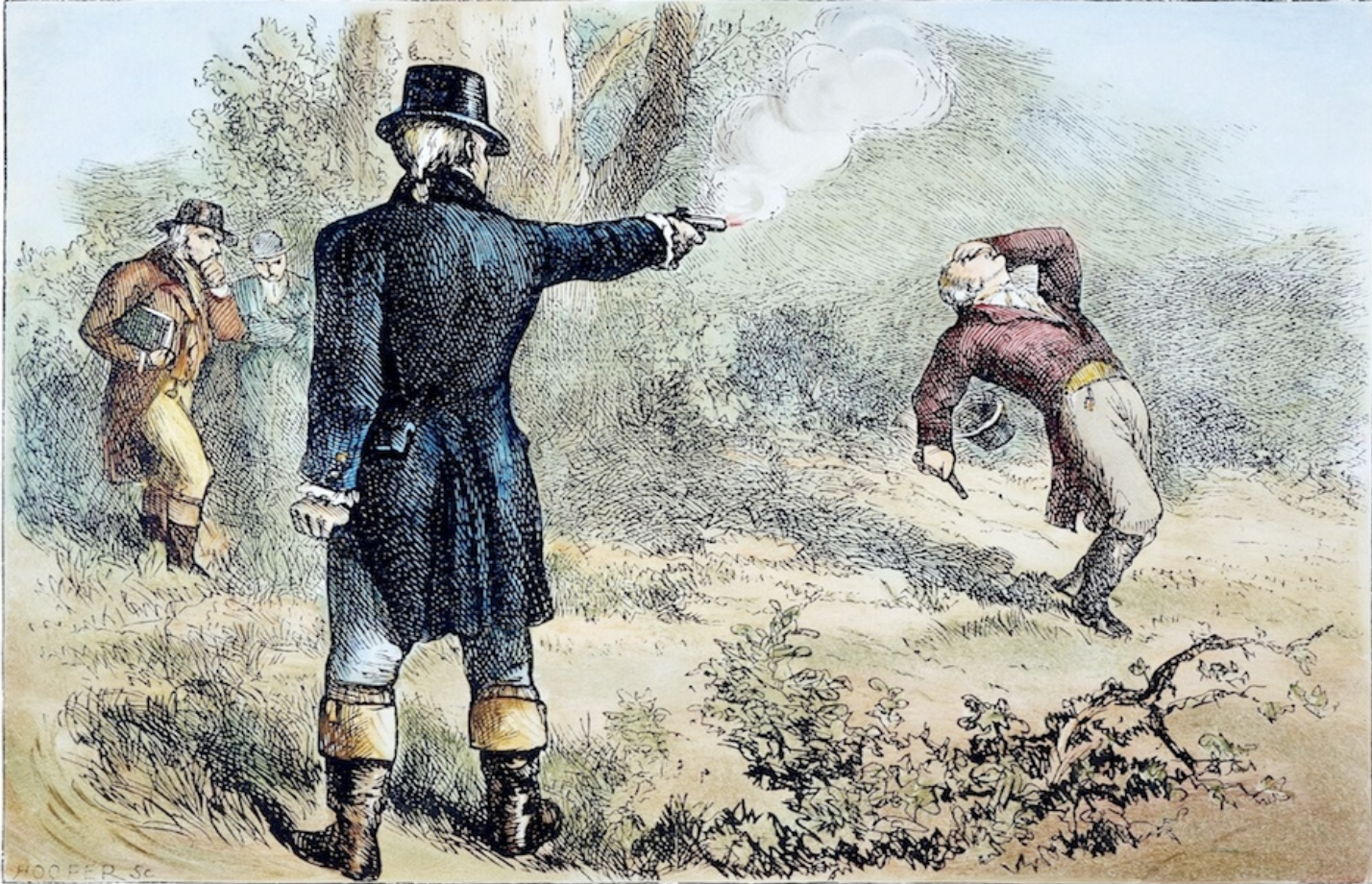 A dramatically imaginative (if inaccurate) 19thc illustration of the duel between Hamilton & Burr.