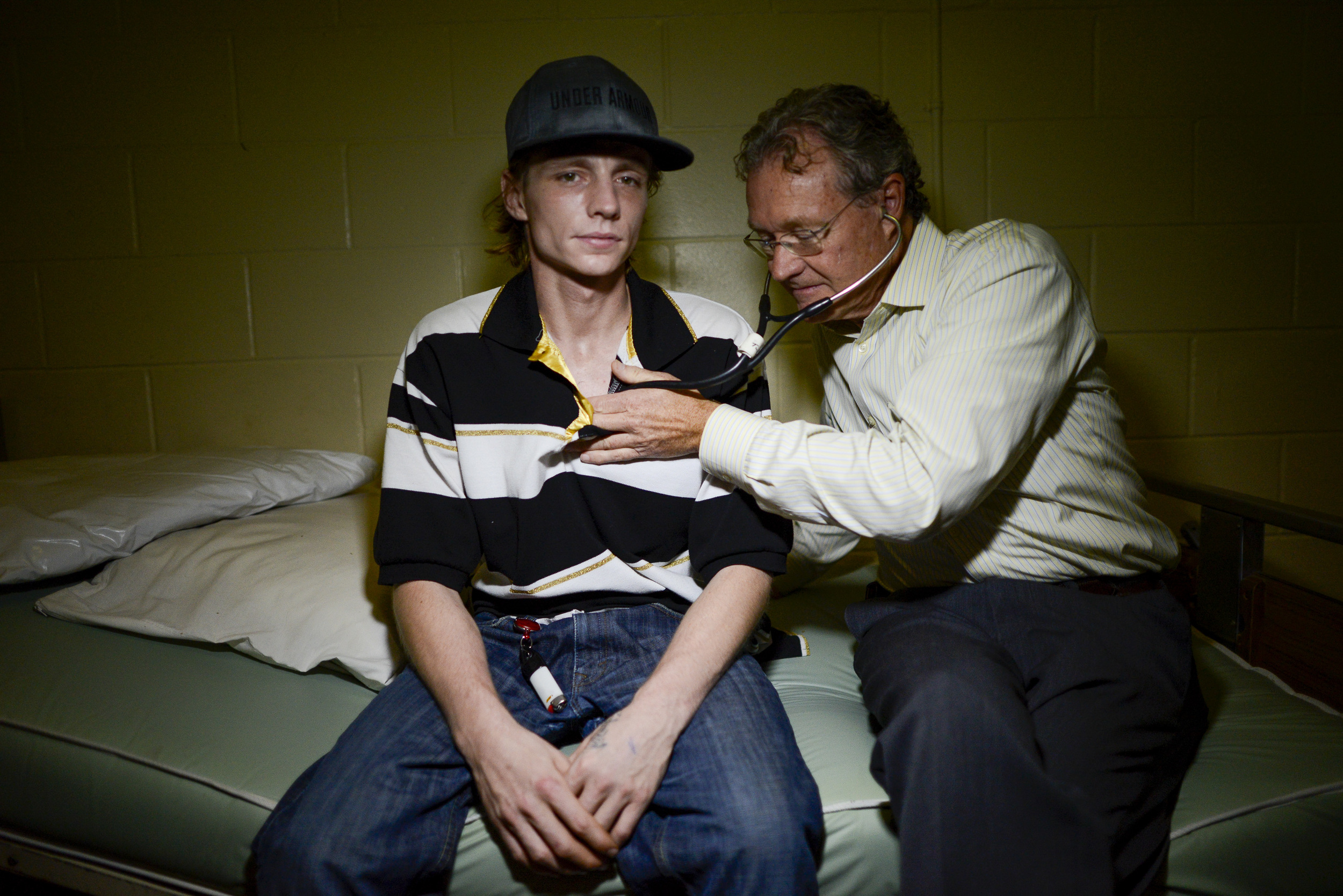 Doctor Jeff Turnbull from the Ottawa Hospital checks up on one of his patients, Thomas Sabourin at the Salvation Army. Dr. Turnbull brings hospital services to shelters around Ottawa.