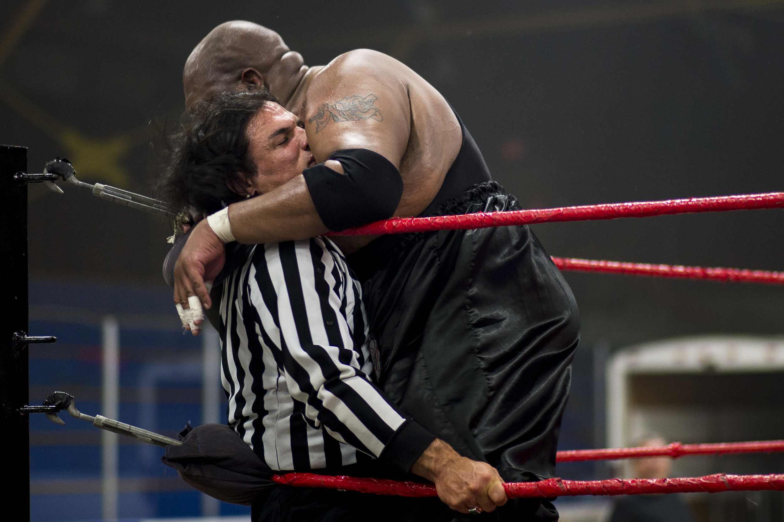 Suspended senator Patrick Brazeau is body slammed by Soa Amin during a local wrestling match where he was a special guest referee.