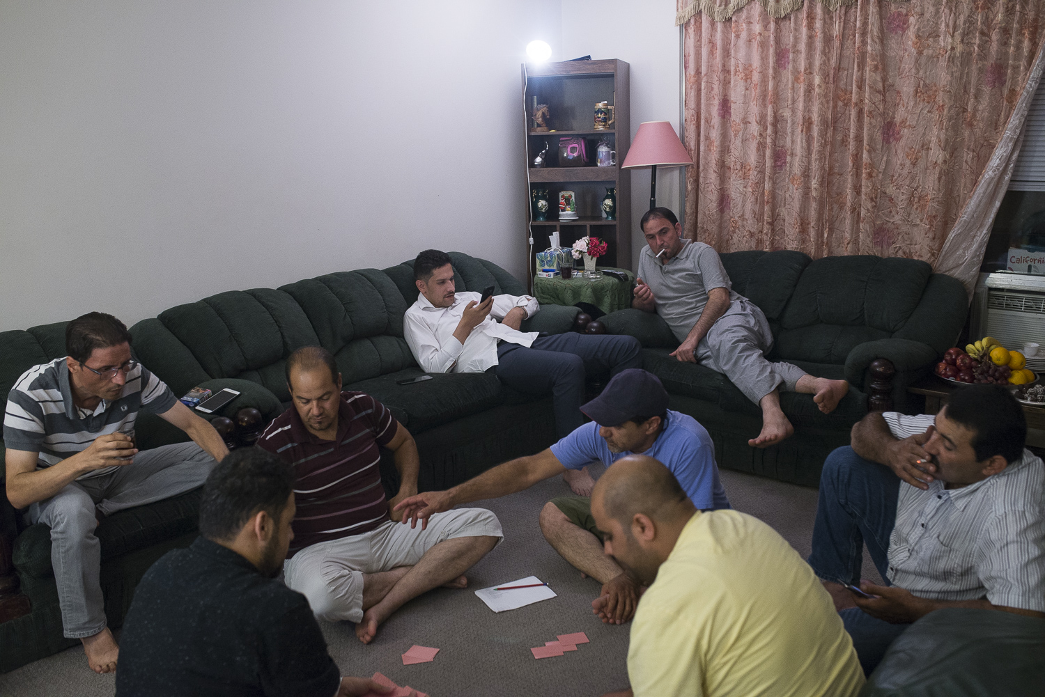 Fellow refugees from Syria often gather at each other's homes to hang out in the evening. They share news and gossip, drink tea and coffee along with snacks.