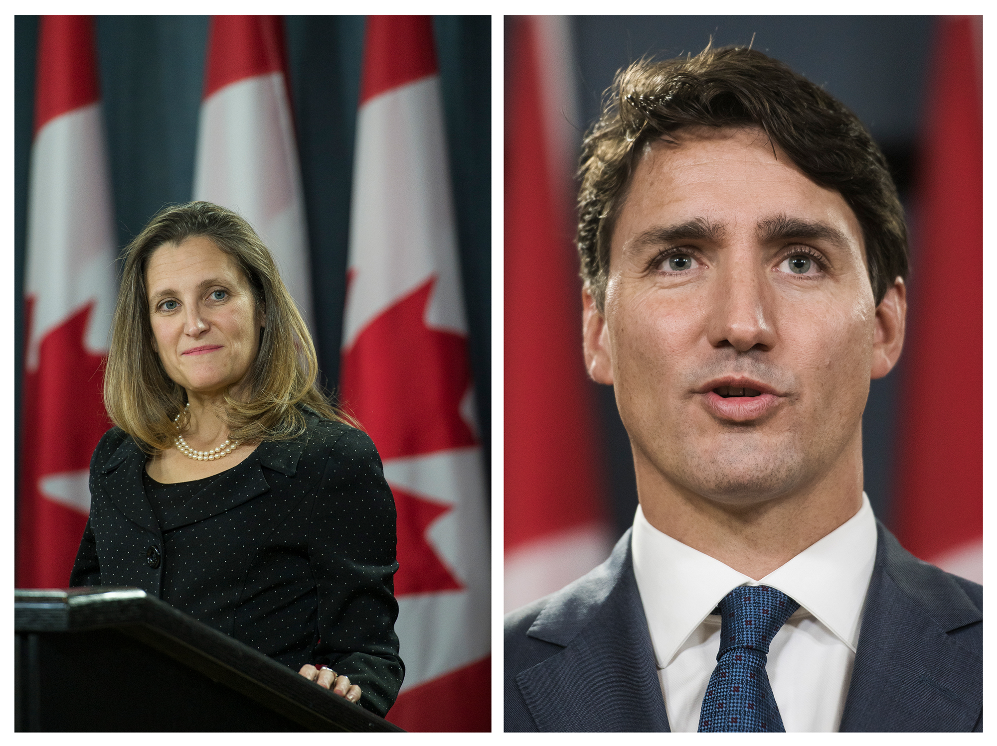 Minister of foreign affairs Chrystia Freeland and Prime Minister Justin Trudeau holds a press conference after the NAFTA negotiations with the United States. On assignment for Maclean's. Unpublished.