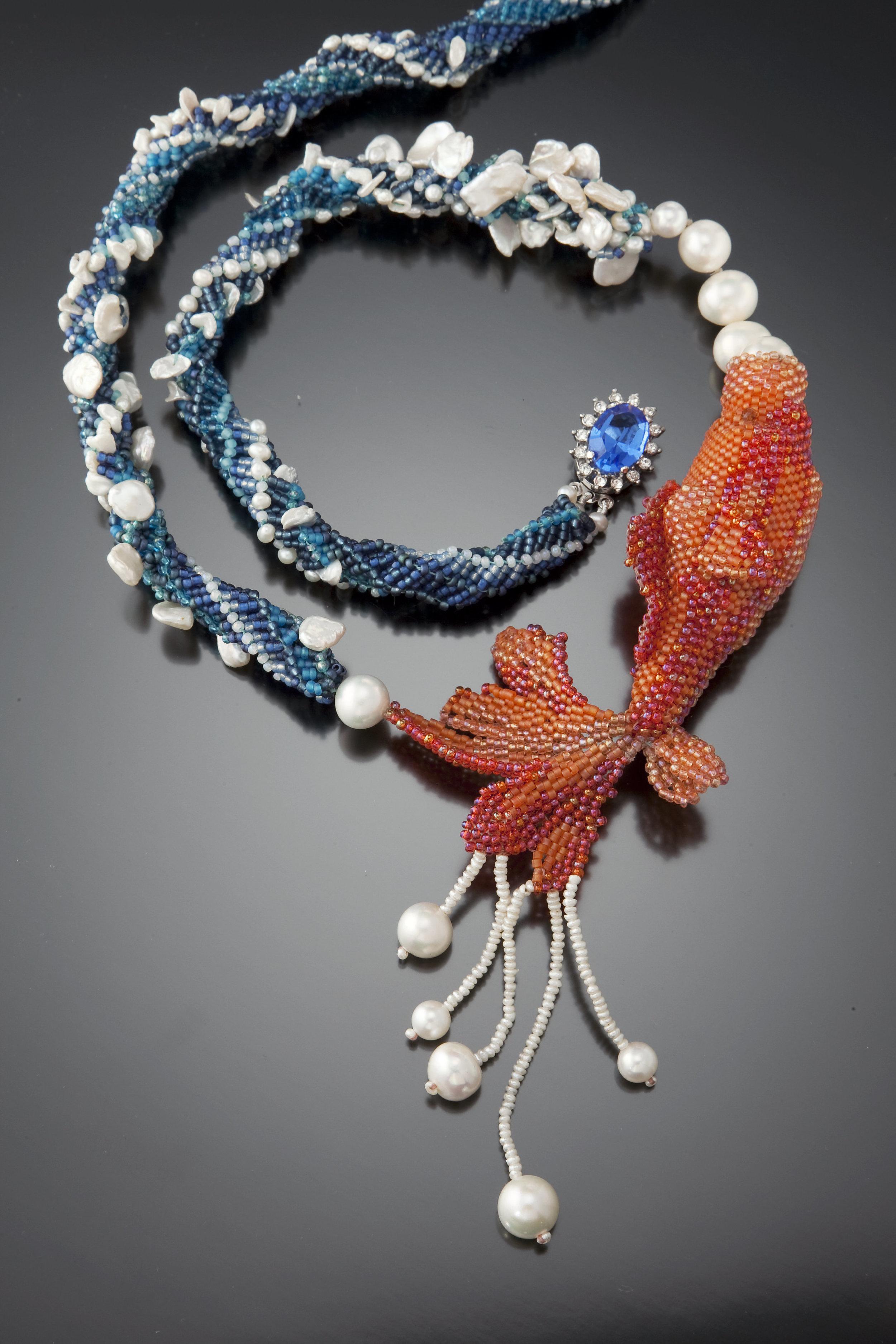 Kanagawa Koi - Sculptural Beadwoven Koi Necklace with Pearls a Plenty