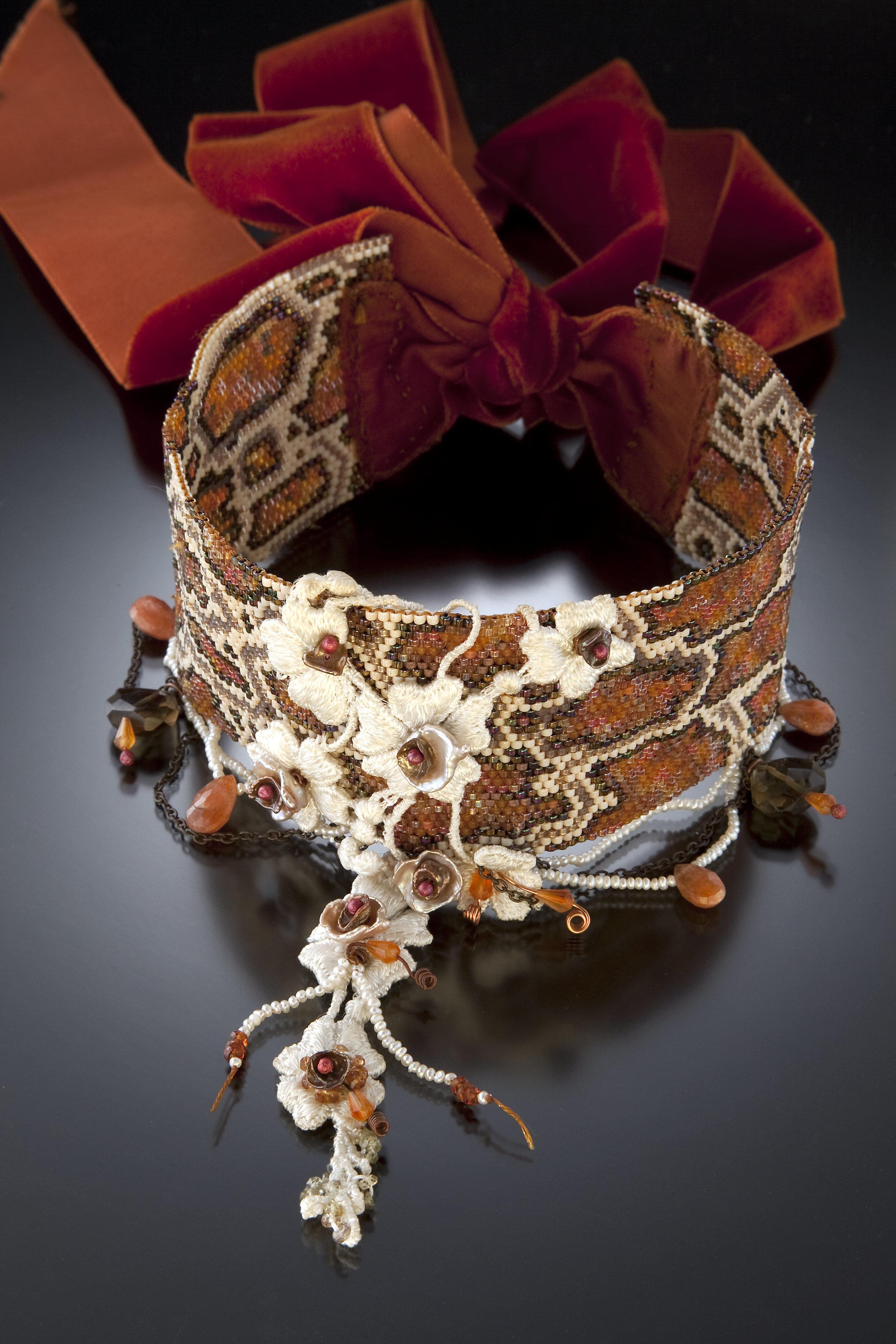 Temptation Burlesque Beadwoven Snakeskin Collar