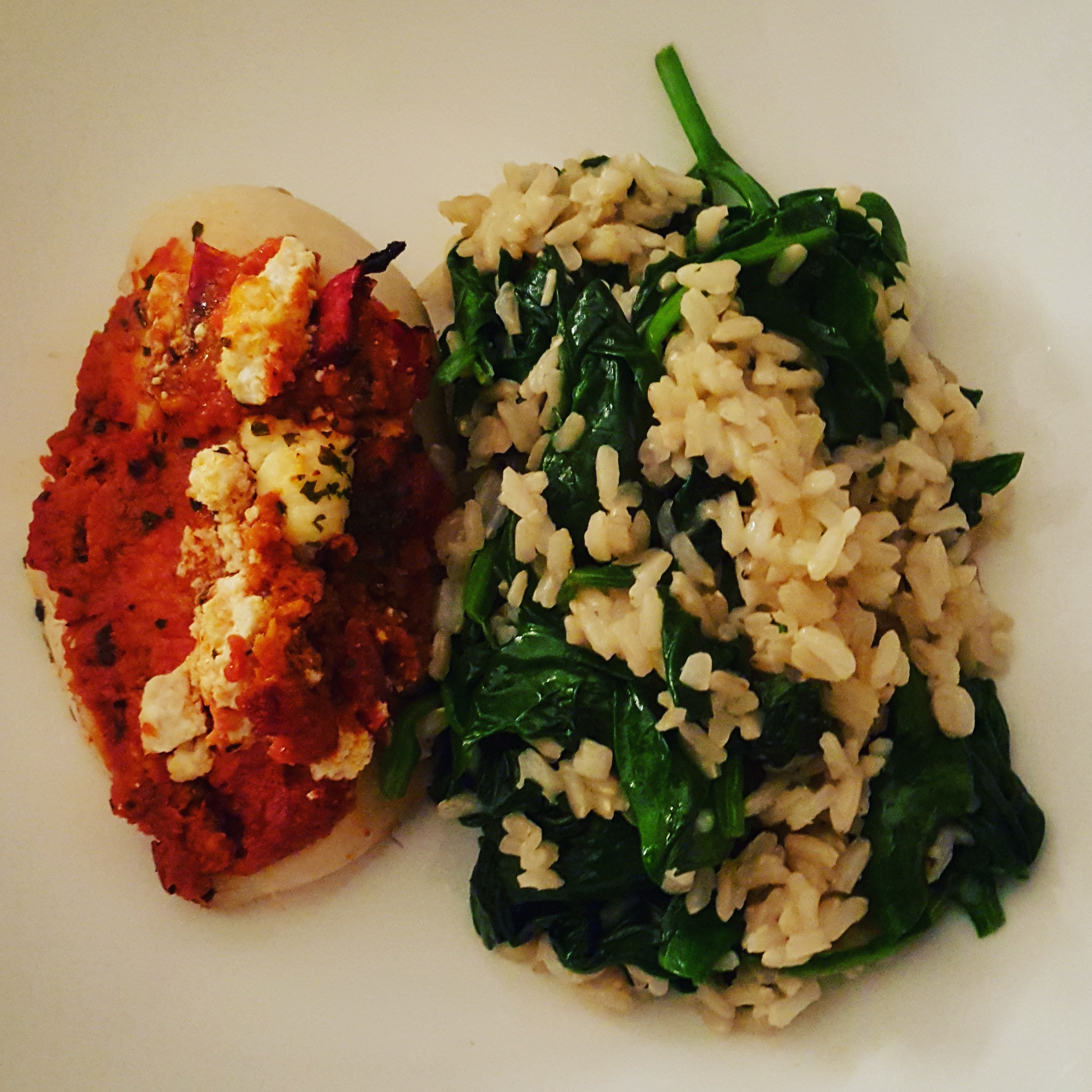 Sundried Chicken Breast with Spinach Brown Rice
