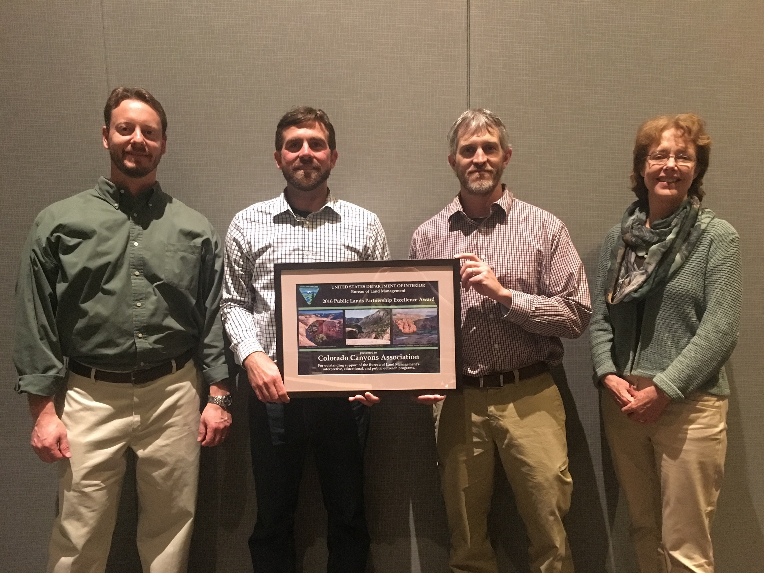 From left to right: Trevor Needham -BLM National Partnerships Coordinator, Joe Neuhof-CCA Executive Director, Collin Ewing -BLM National Conservation Area Manager, and Janet Ady -BLM Division Chief.