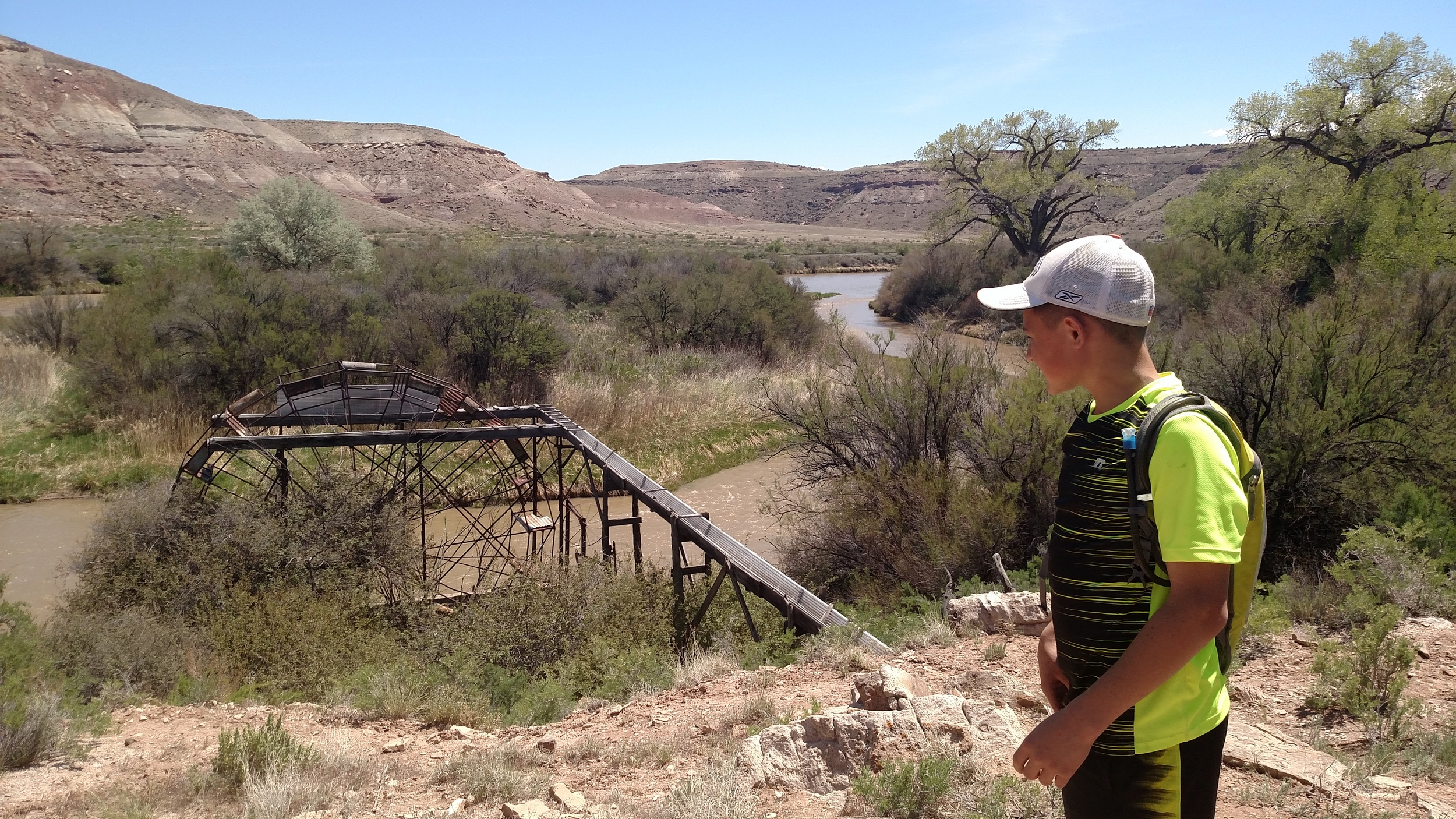A Delta County 7th grade student enjoying the view of the Gunnison River waterwheel!