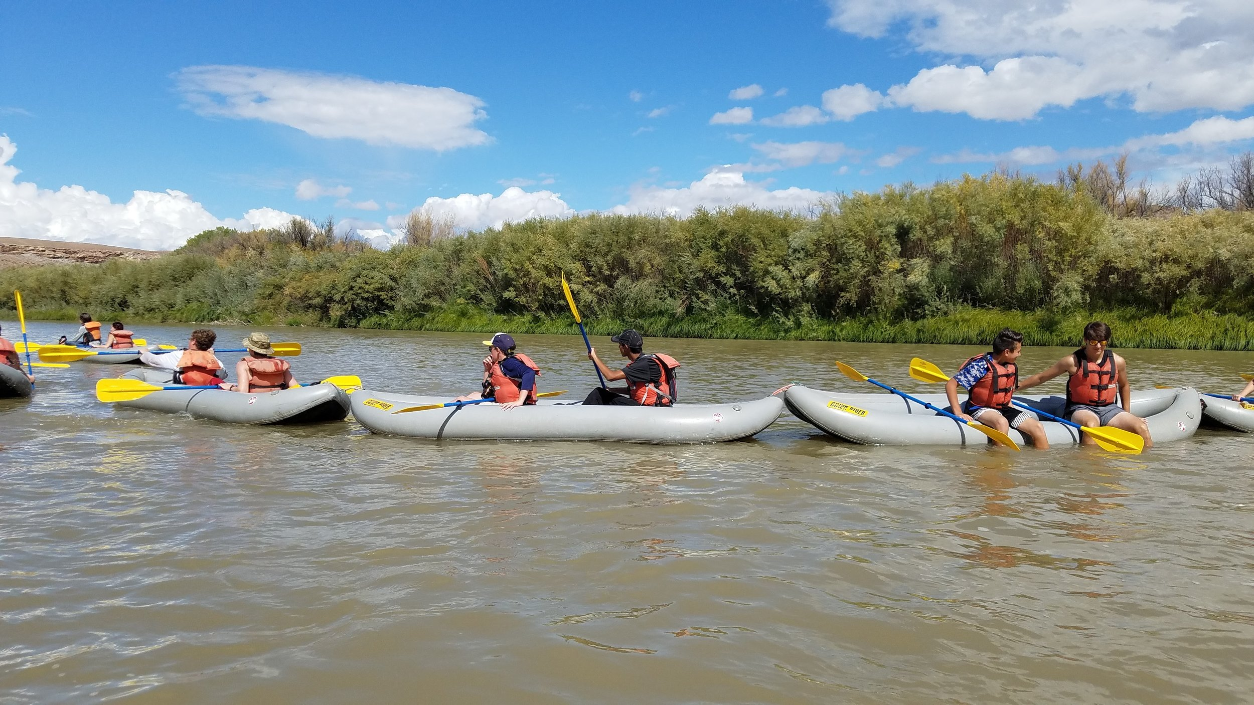 Over the course of the two-day trip,students not only paddled the canyon together, but they also worked together to build and test hypotheses regarding the relationship between damming/irrigation and water quality, hydrology, and vegetative systems in the canyons.