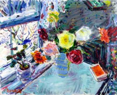 """Flowers on the Breakfast Table in Winter at Smithtown, Long Island"" by Dimitrie Berea. Isn't it amazing?"