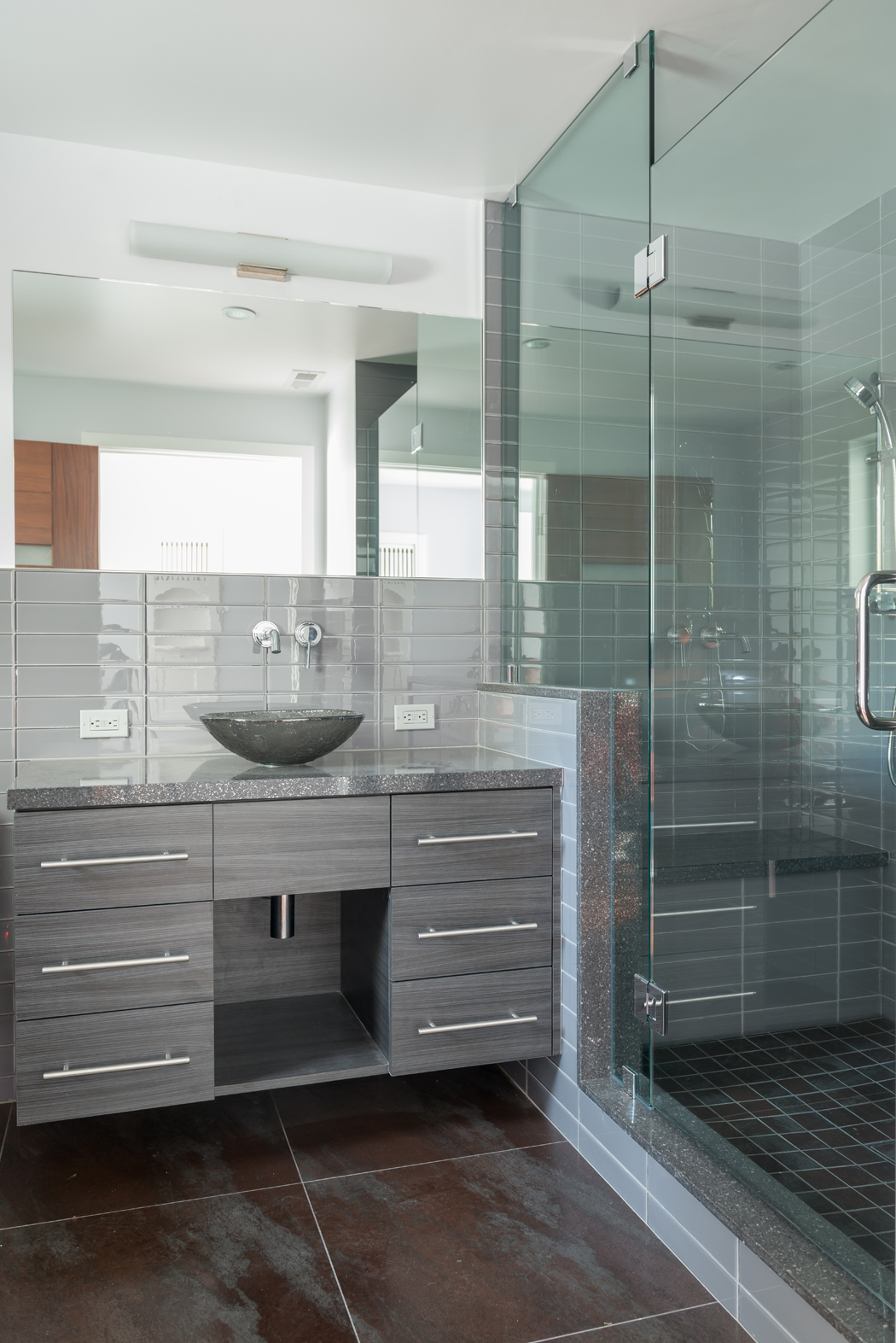 Modern Bath Cabinetry designed and built in our woodshop!