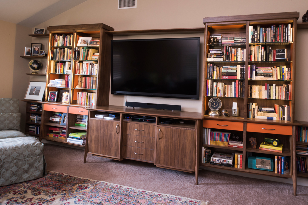 Mid Century Inspired Walnut Entertainment Center