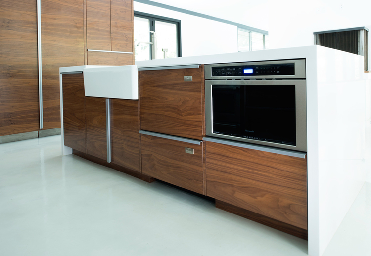 Grain Matched Walnut Island with Microwave and Sink, Refrigerator Storage.