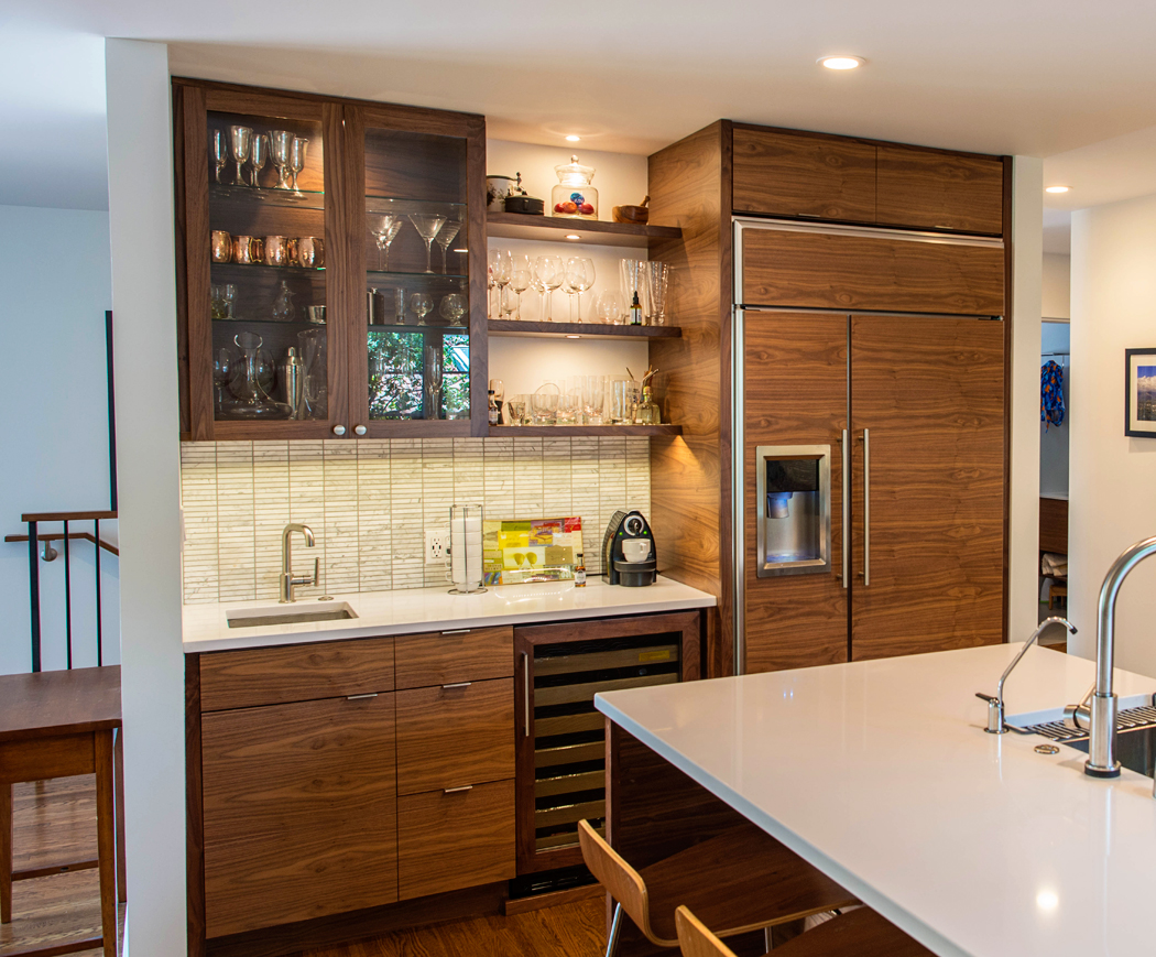 Modern Walnut Custom Kitchen and Bar